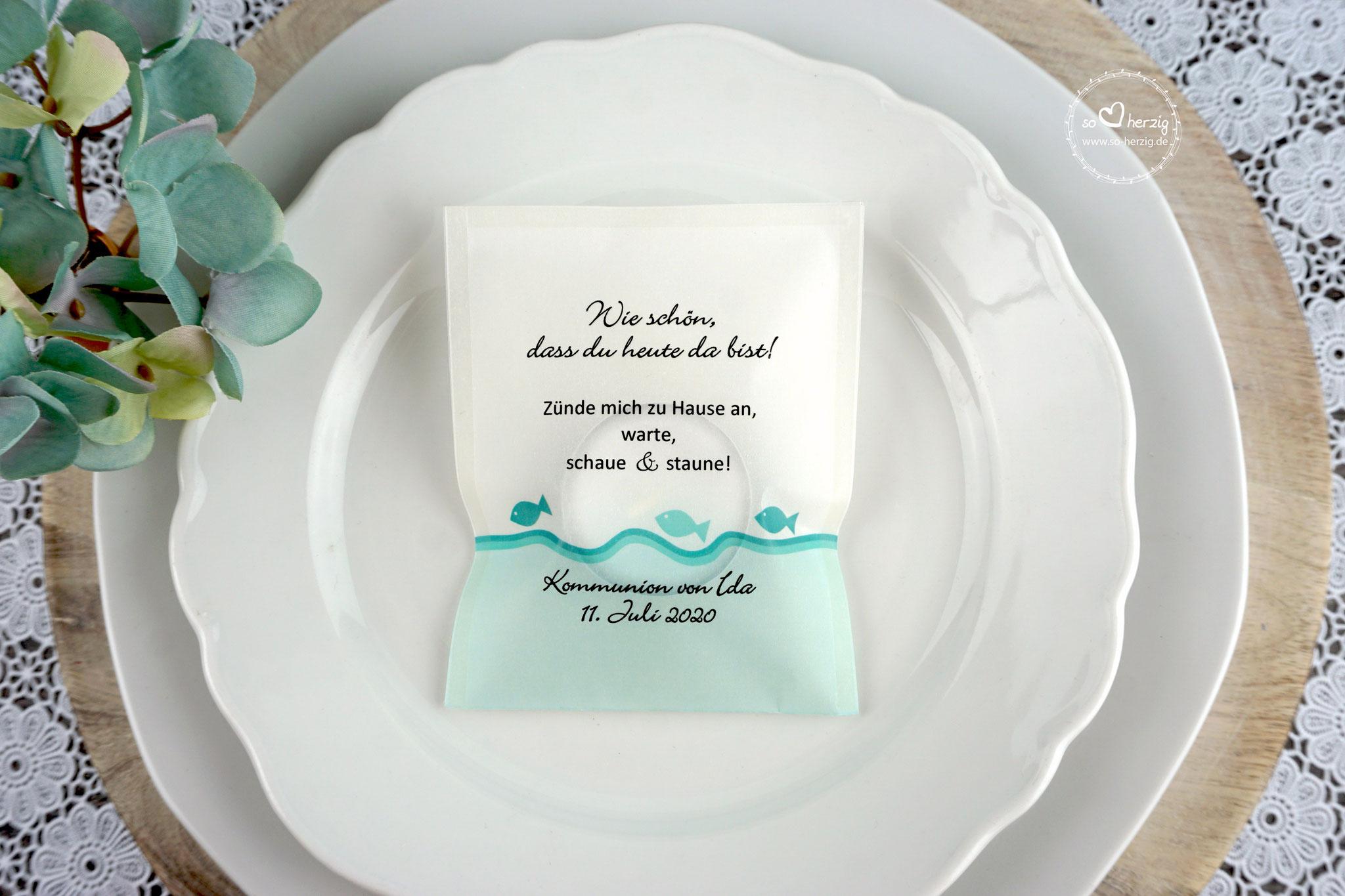 Teelicht-Botschaft Design Fische Türkis
