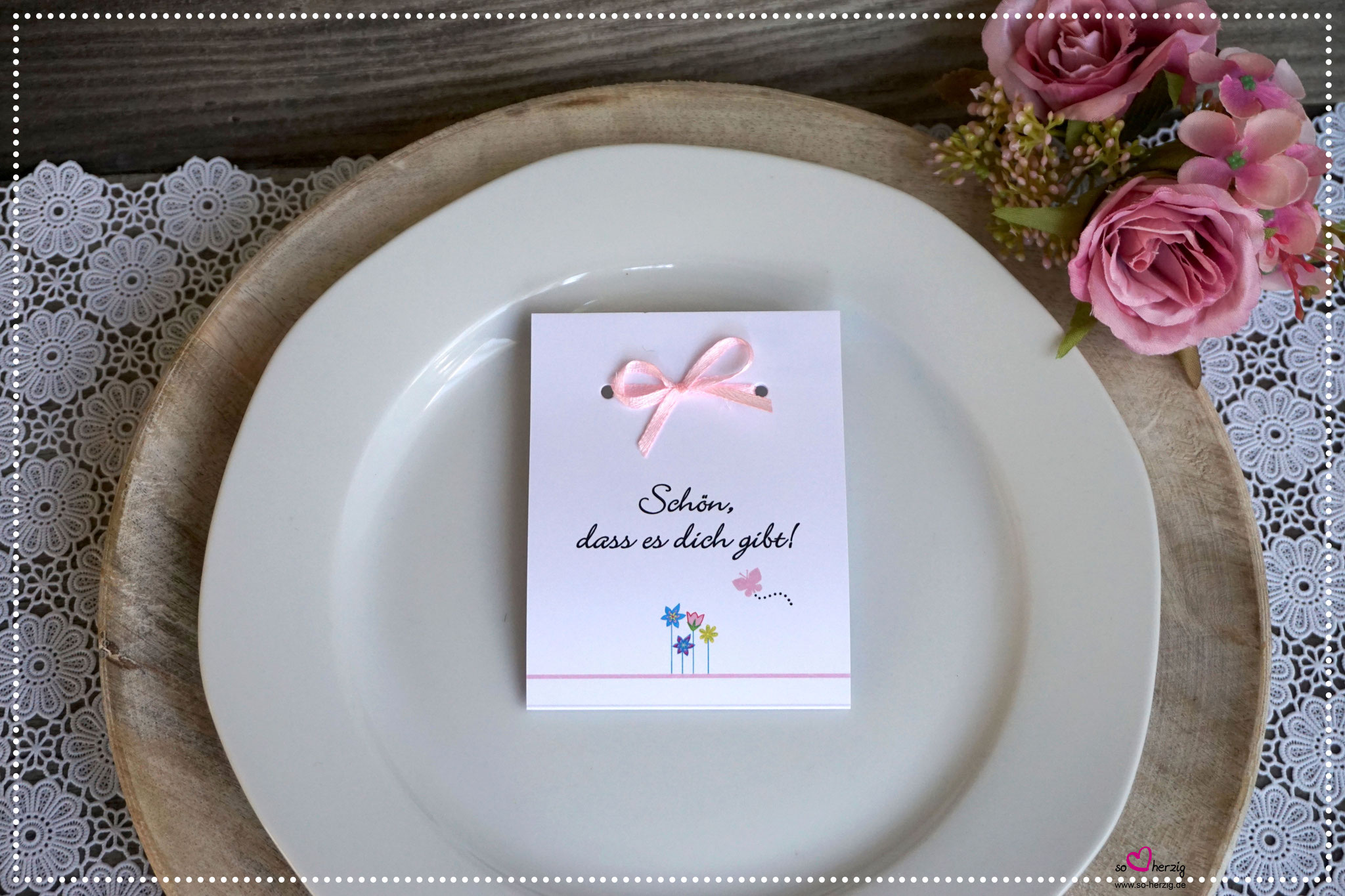 Fruchtgummi Giveaway Design Blumenwiese rosa/mint