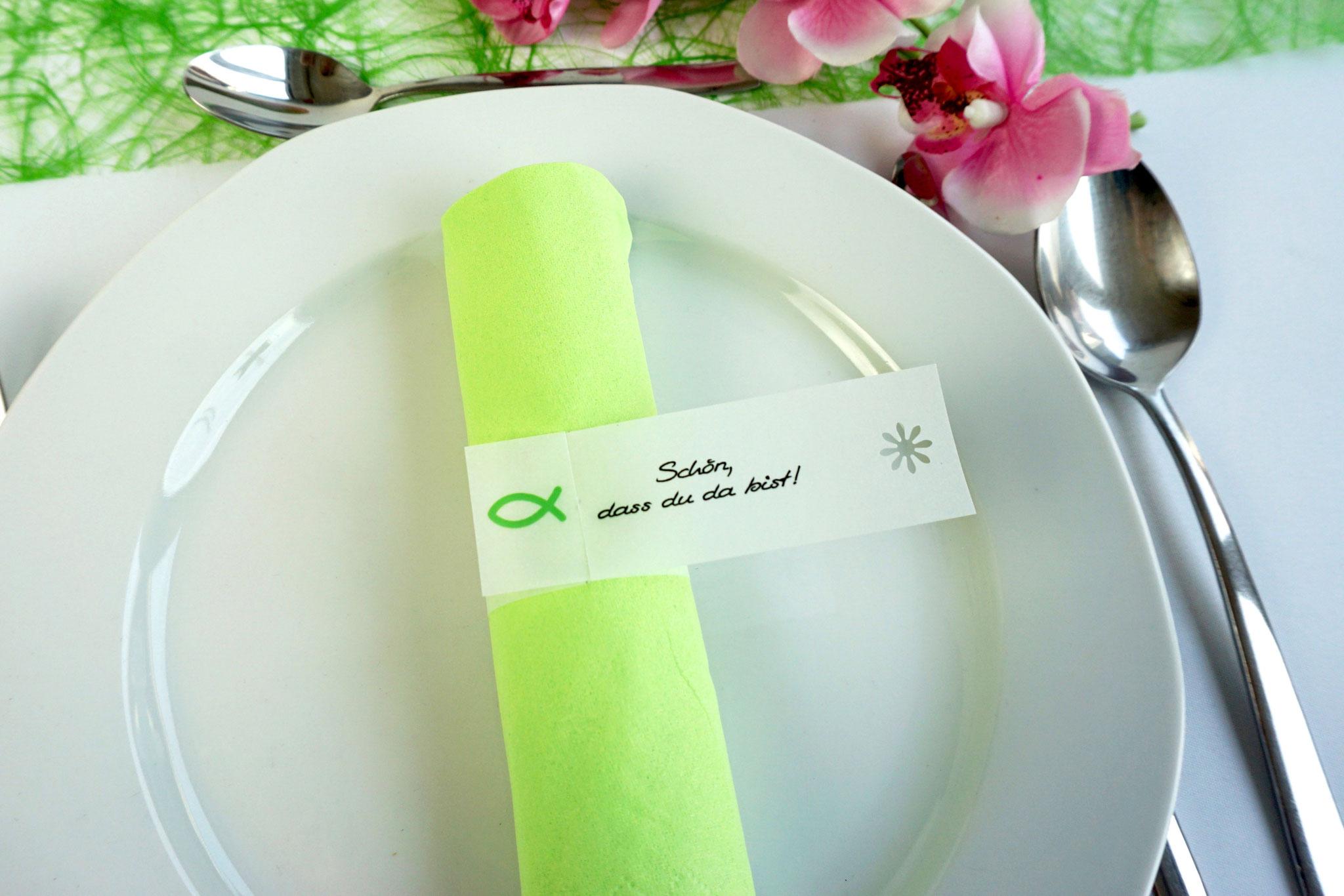 Serviettenring Design Fisch Silhouette, Farbe Apfelgrün, Randabschluss Blümchen