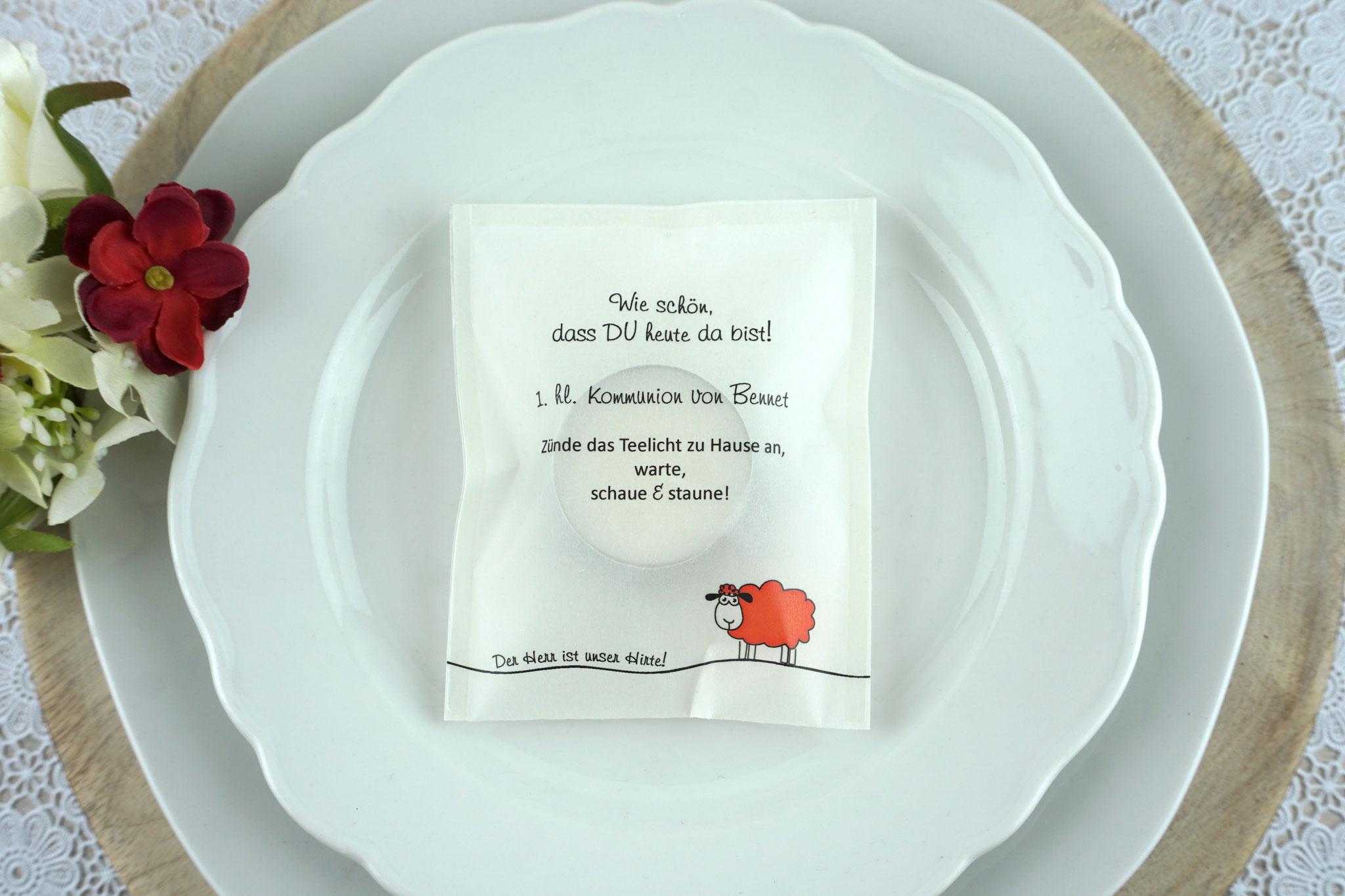 "Teelicht-Botschaft ""Verpackung als Platzkarte"", Design ""Schaf"" Rot"