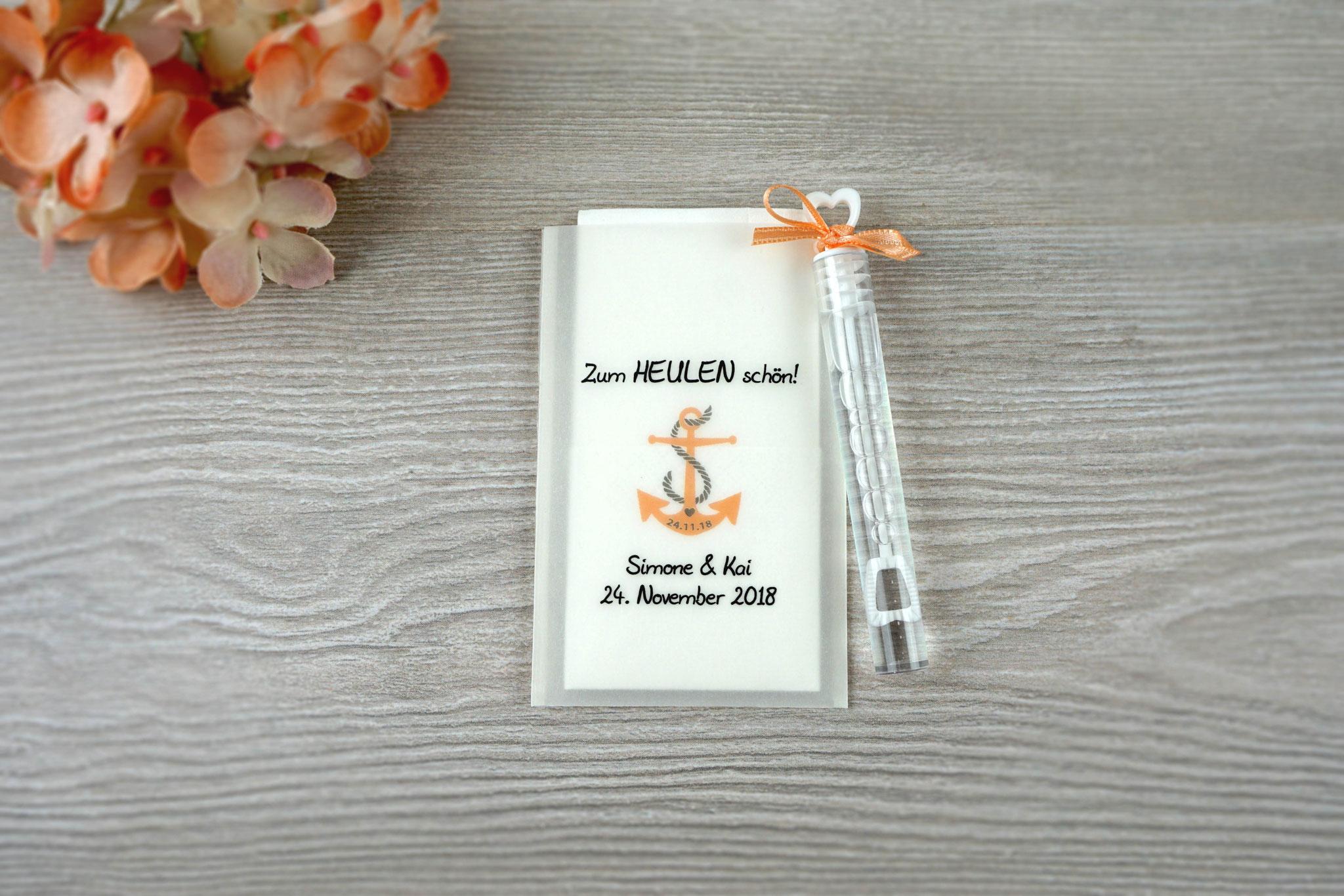 Freudentränen Taschentücher mit Seifenblasen, Design Anker, Farbe apricot, Satinband