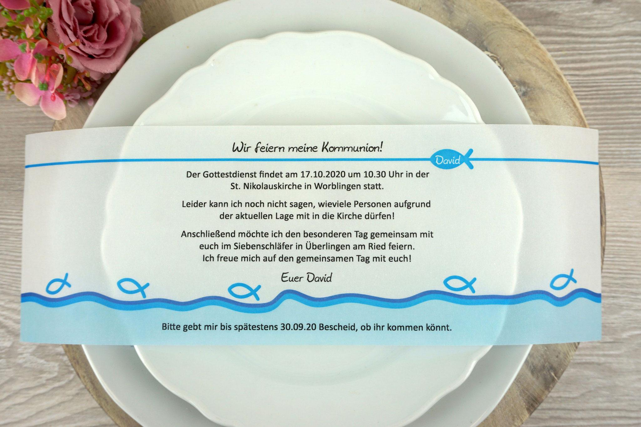 Einladungskarte aus Pergamentpapier Design Fisch Silhouette Blau - ohne Bild