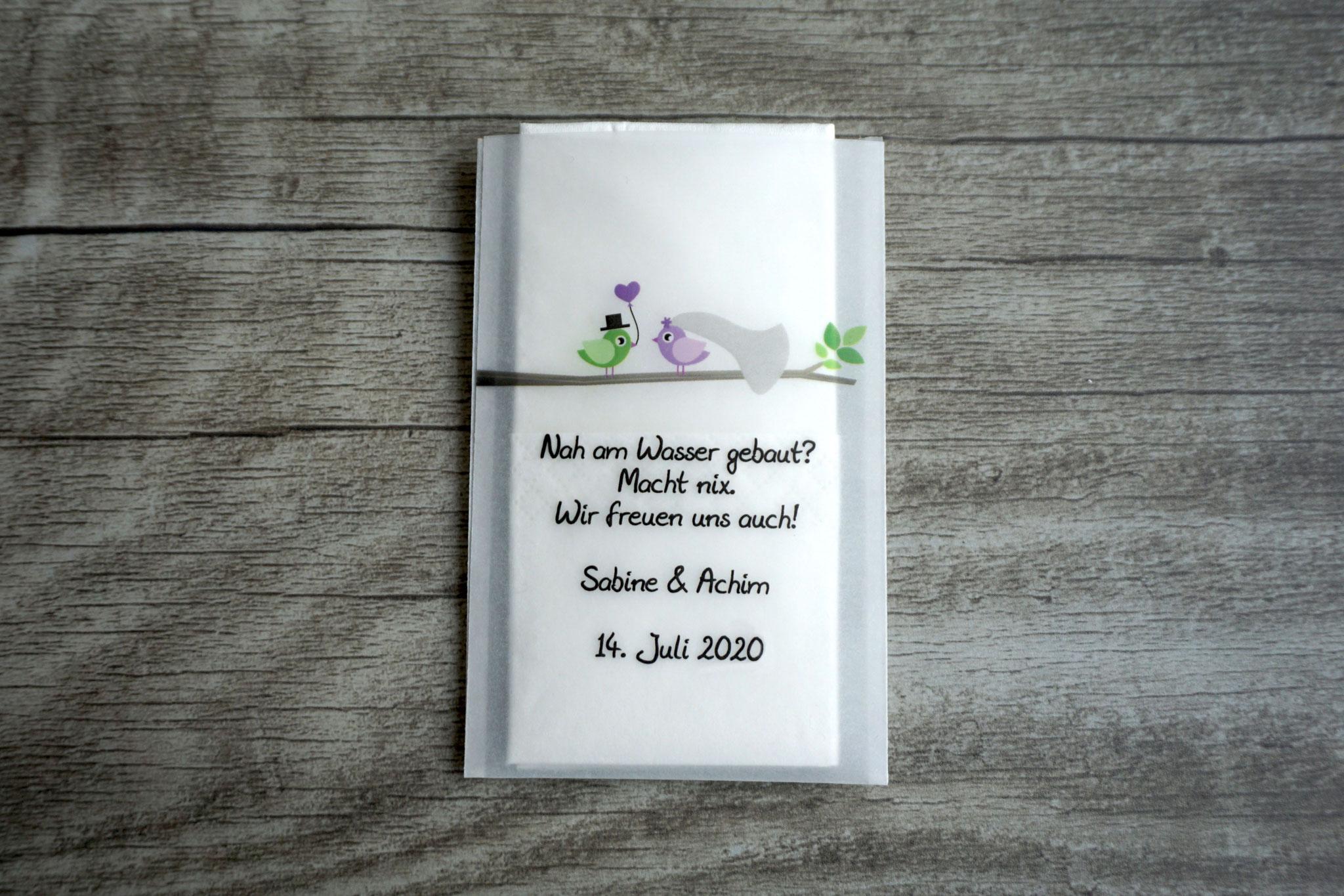 Freudentränen Taschentücher Design Hochzeitsvögel auf Ast, Farbe Flieder/Grün