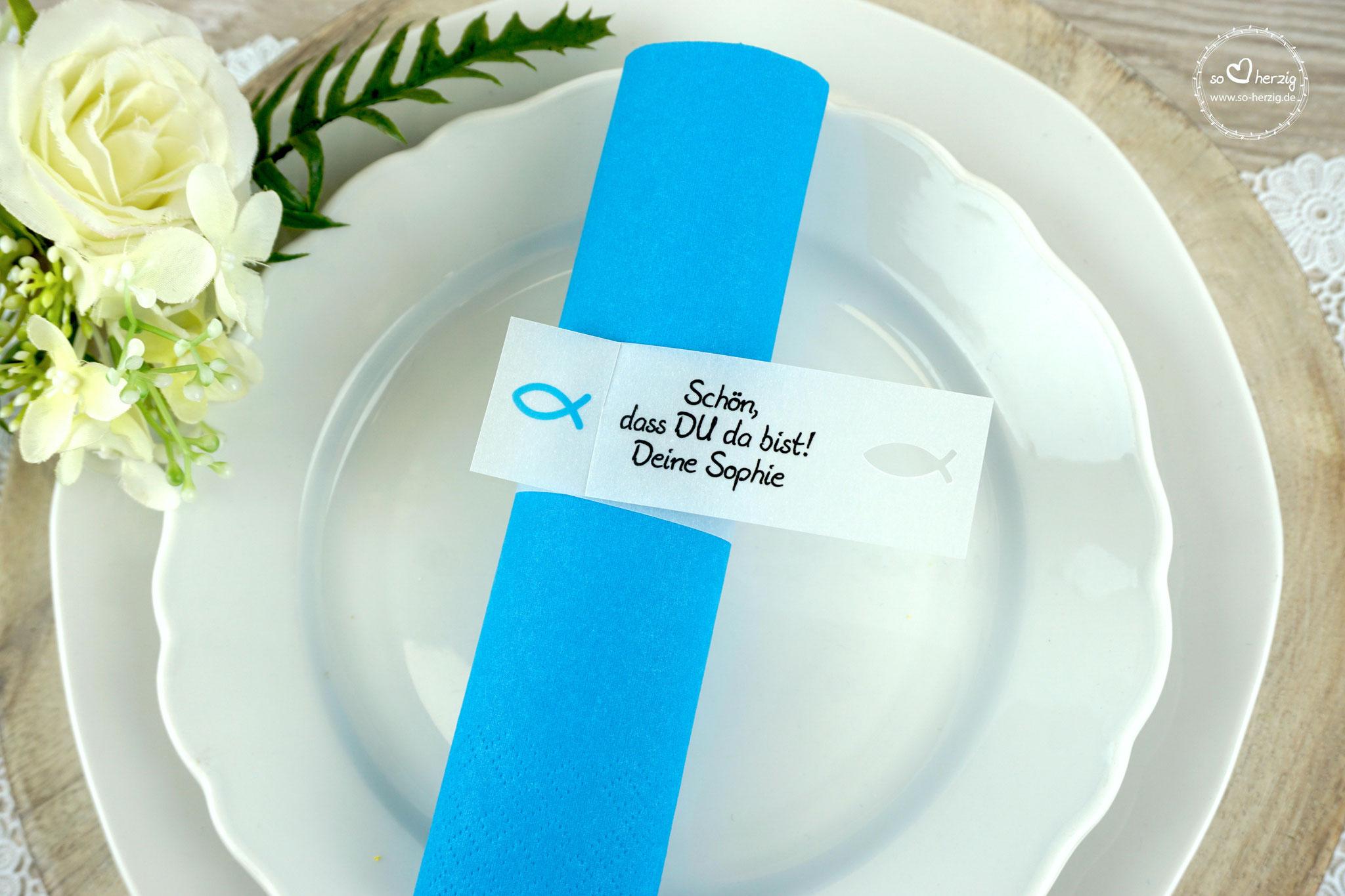 Serviettenring Design Fisch Silhouette, Farbe Aqua, Randabschluss Fisch