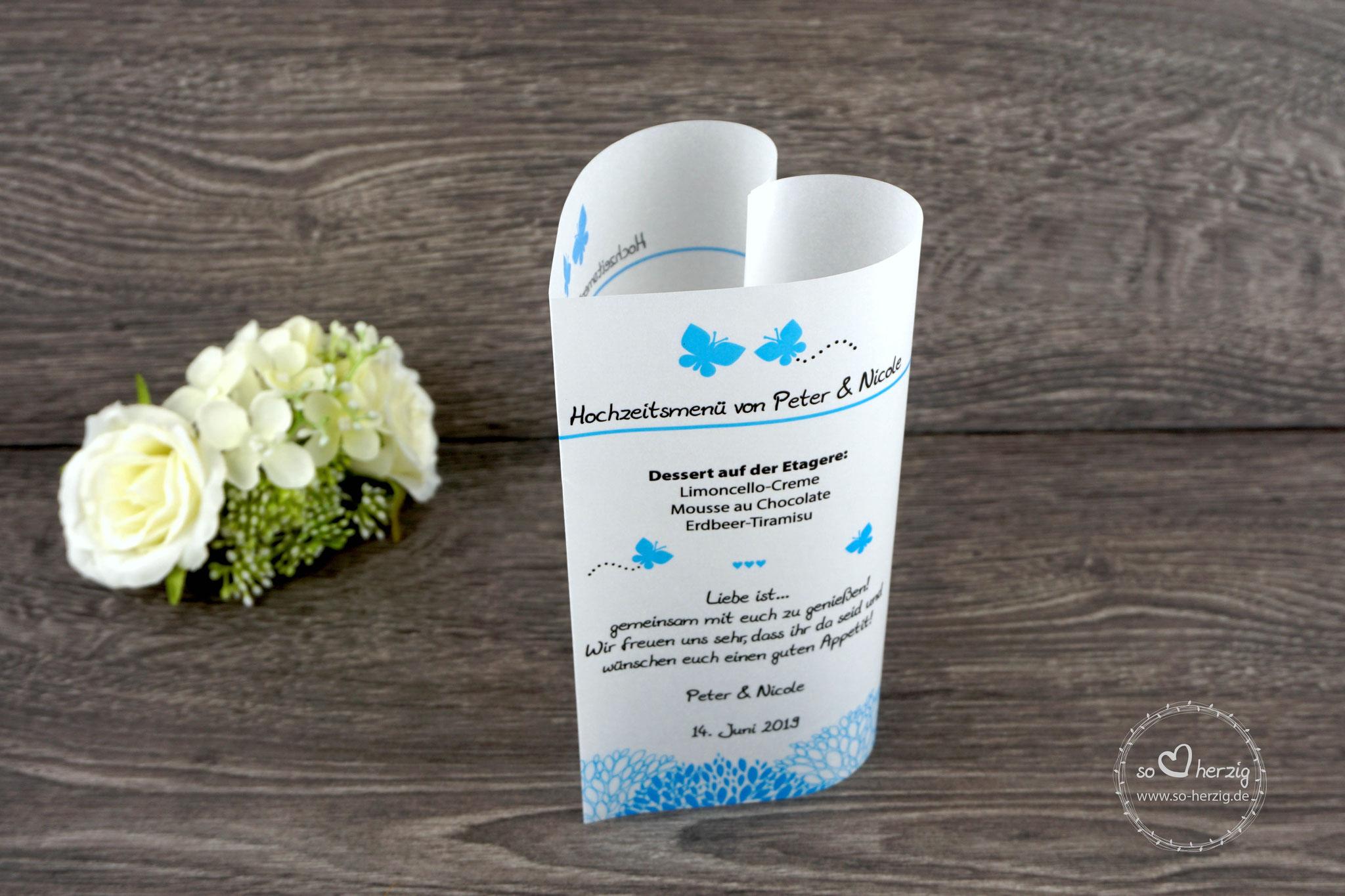 Menükarte Herzform 17cm, Design Schmetterlinge blau, Schrift Julius Thyssen