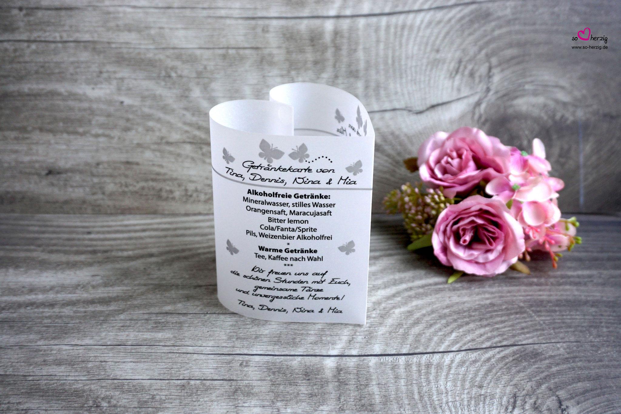 Getränkekarte Herzform 10,5cm, Design Schmetterlinge silberfarben, Schrift WIP First Lady