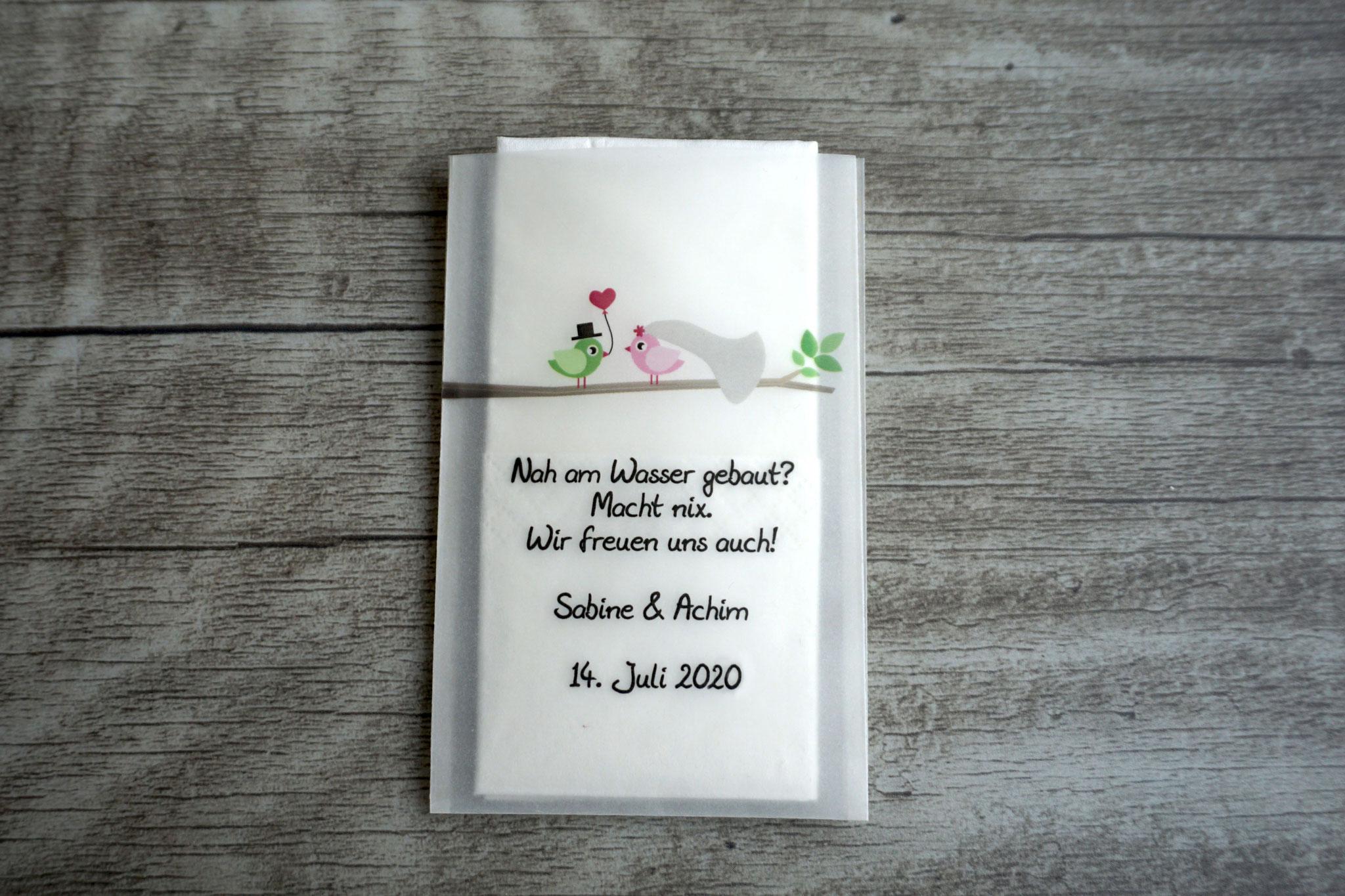 Freudentränen Taschentücher Design Hochzeitsvögel auf Ast, Farbe Rosa/Grün