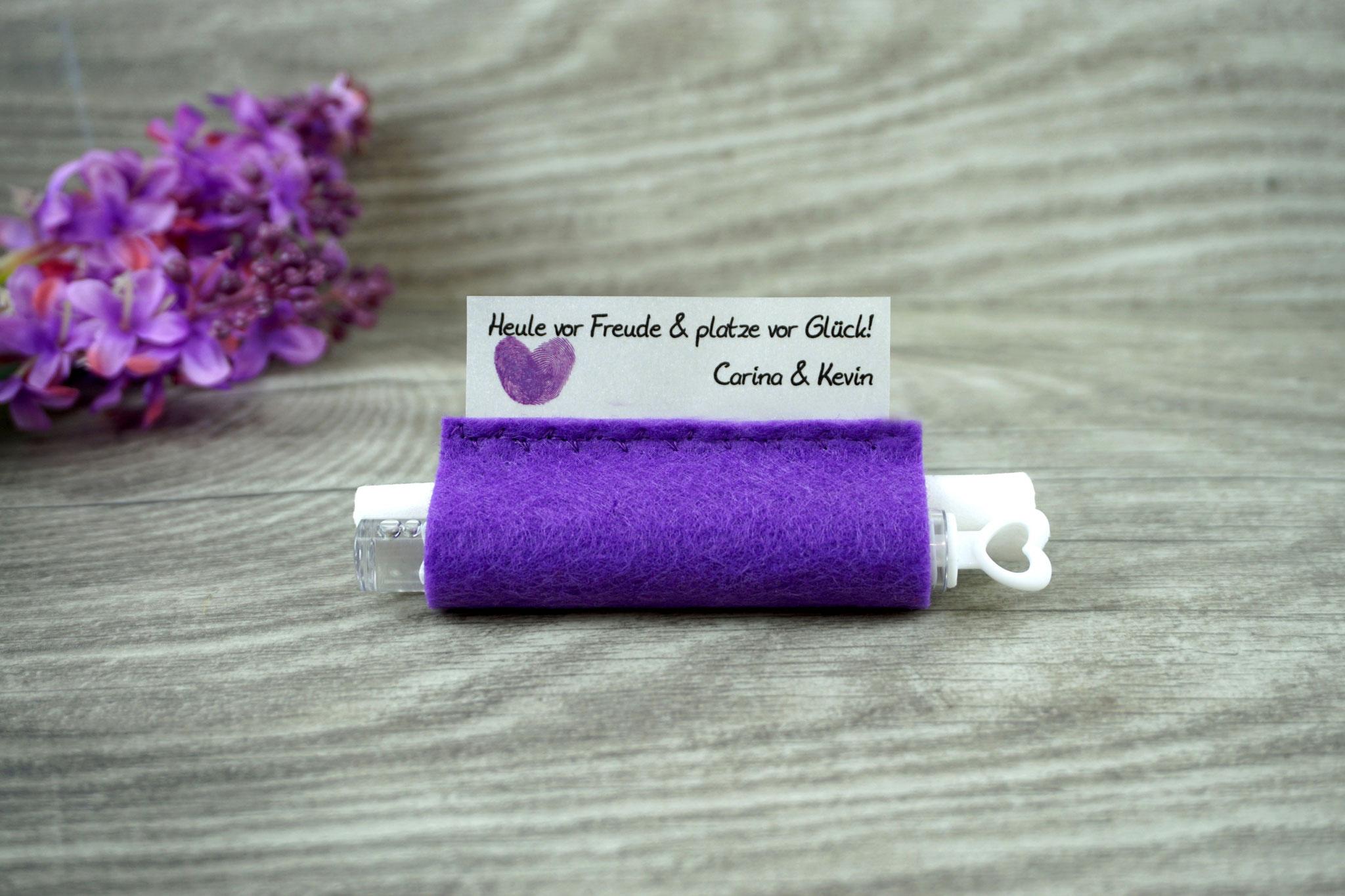 Freudentränen Taschentücher mit Weddingbubbles, Filz lila, Design Fingerprint