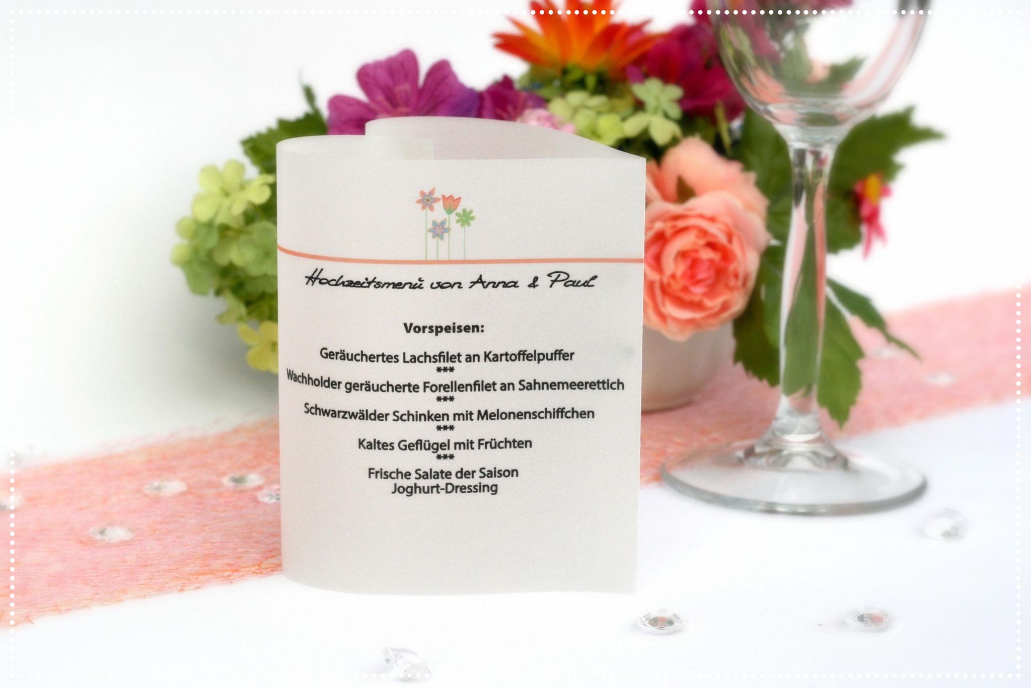 Menükarte Herzform Blumenwiese, Farbe Apricot, Schrift Wip First Lady