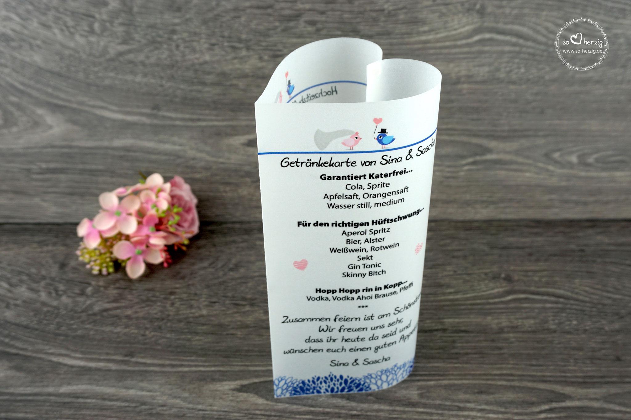 Menü,- und Getränkekarte 17cm, Design Hochzeitsvögel, Farbe Royalblau/Puderrosa, Schrift Julius B Thyssen