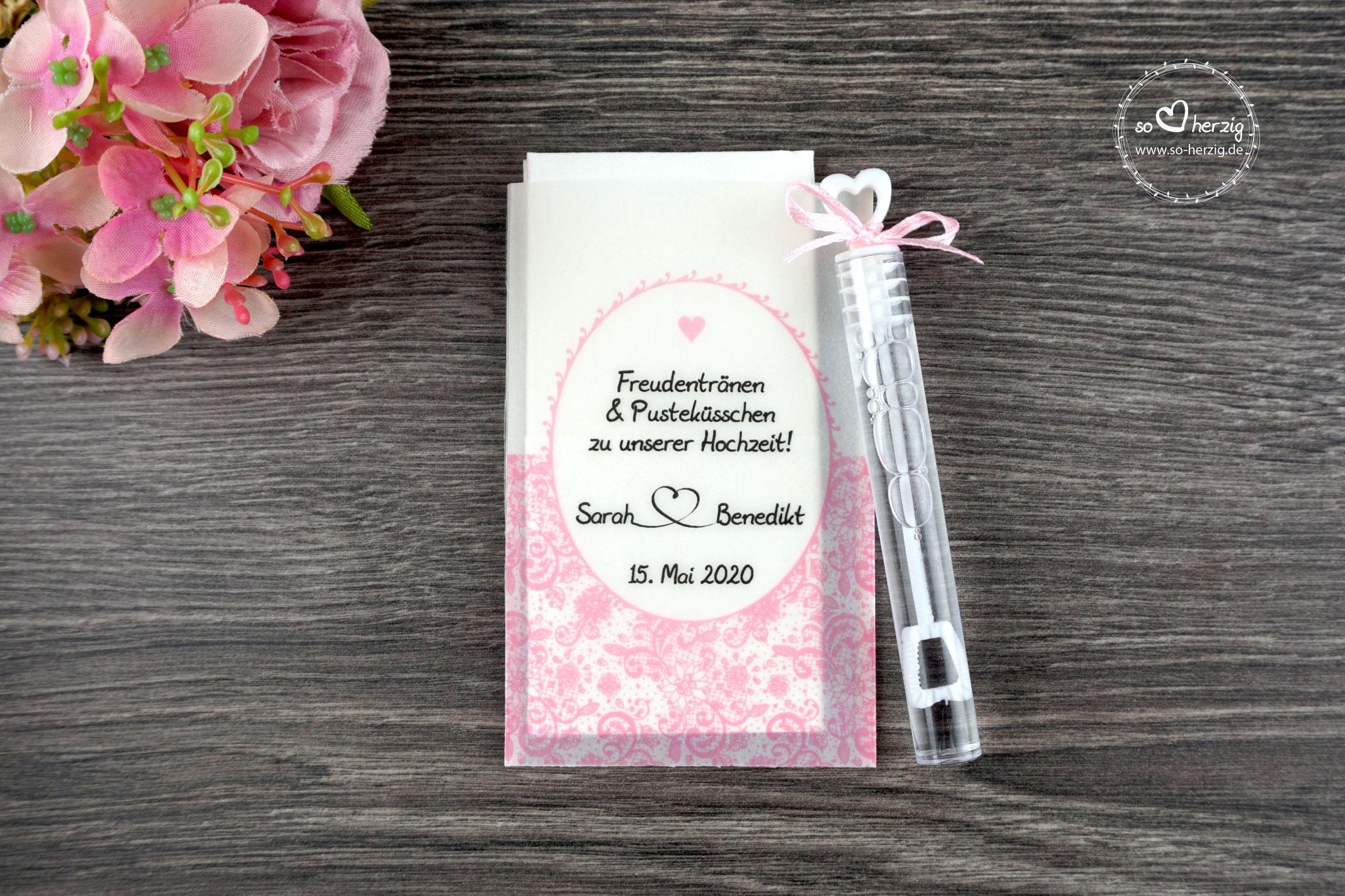Freudentränen Taschentücher mit Seifenblasen, Design Romantik, Farbe Rosa, Satinband
