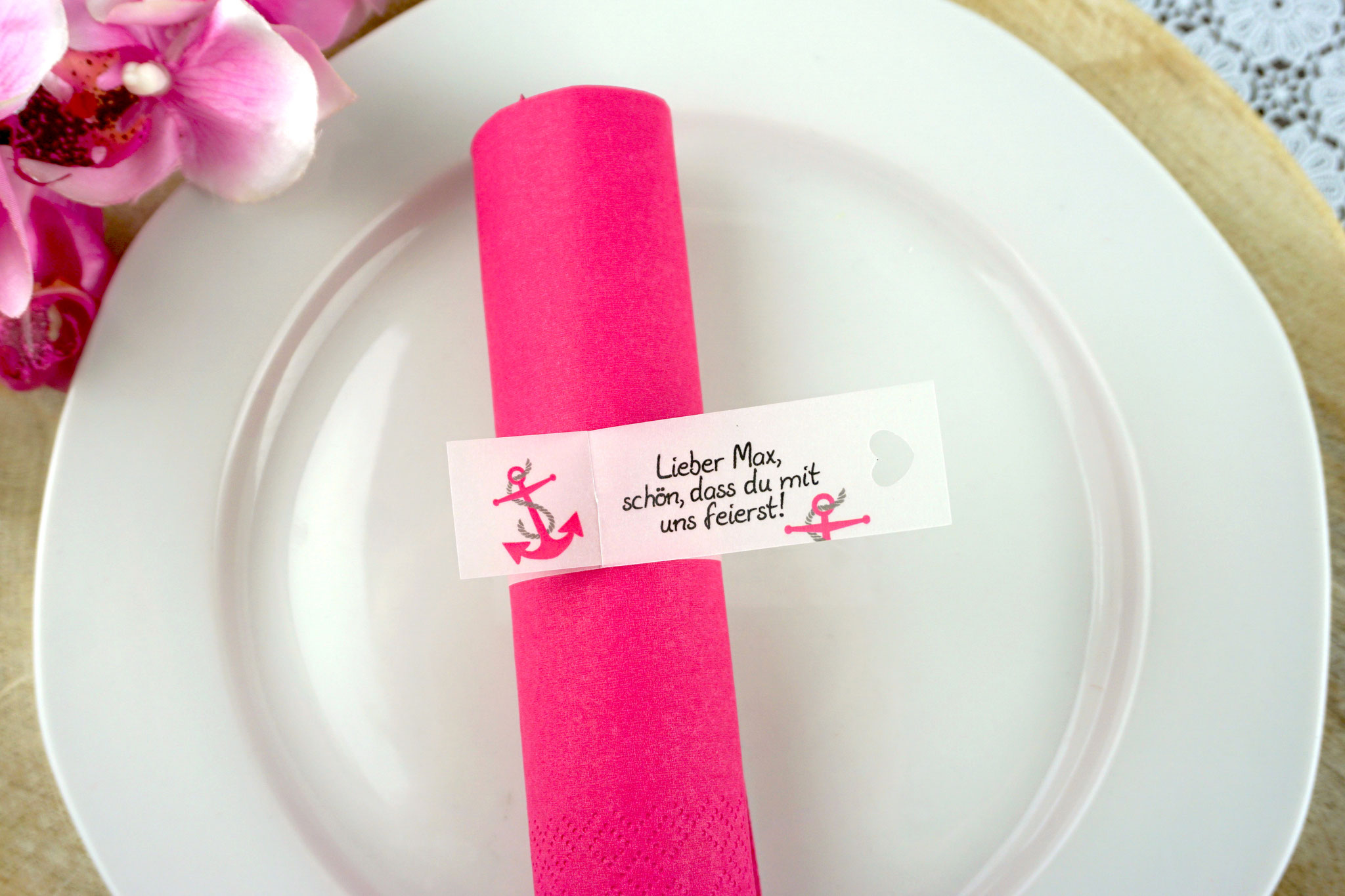 Serviettenring Design Anker pink, Ausstanzung Herz