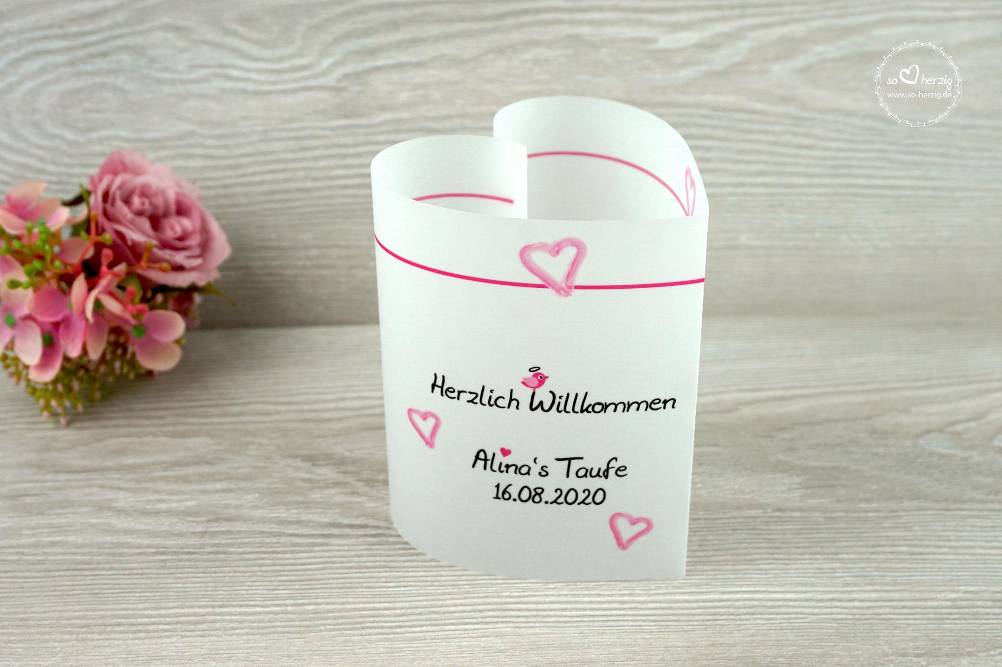 Menükarte als Tischaufsteller 10,5cm, Design Aquarellherz, Farbe Pink