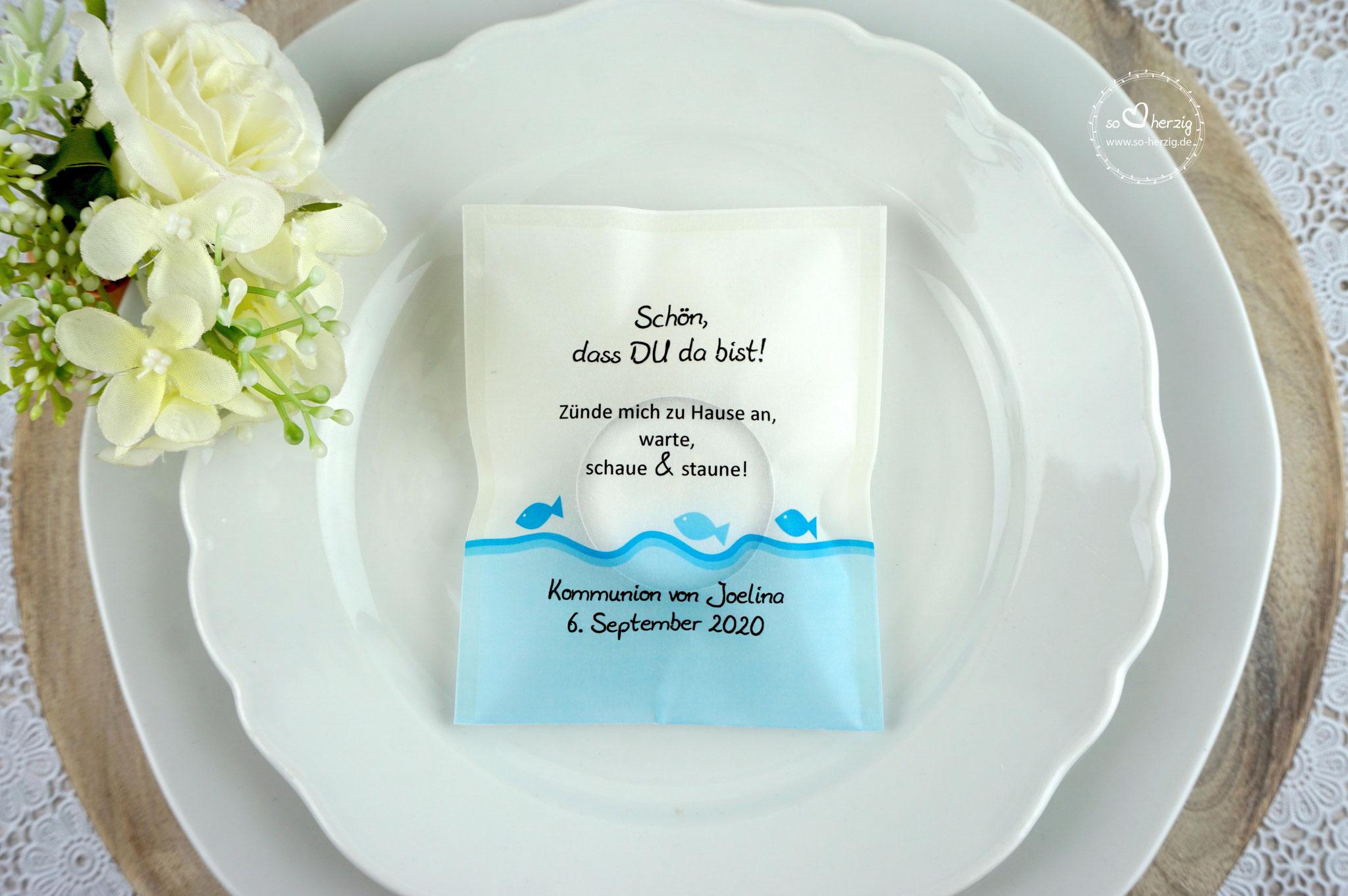 Teelicht-Botschaft Design Fische Aqua - Schrift Julius B Thyssen