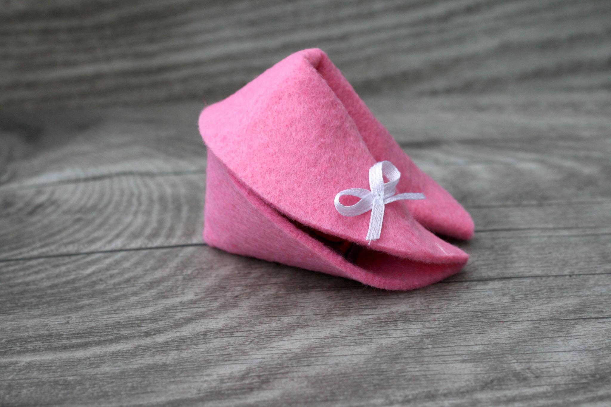 Filzkeks Rosa groß 7,2 cm, geschlossen