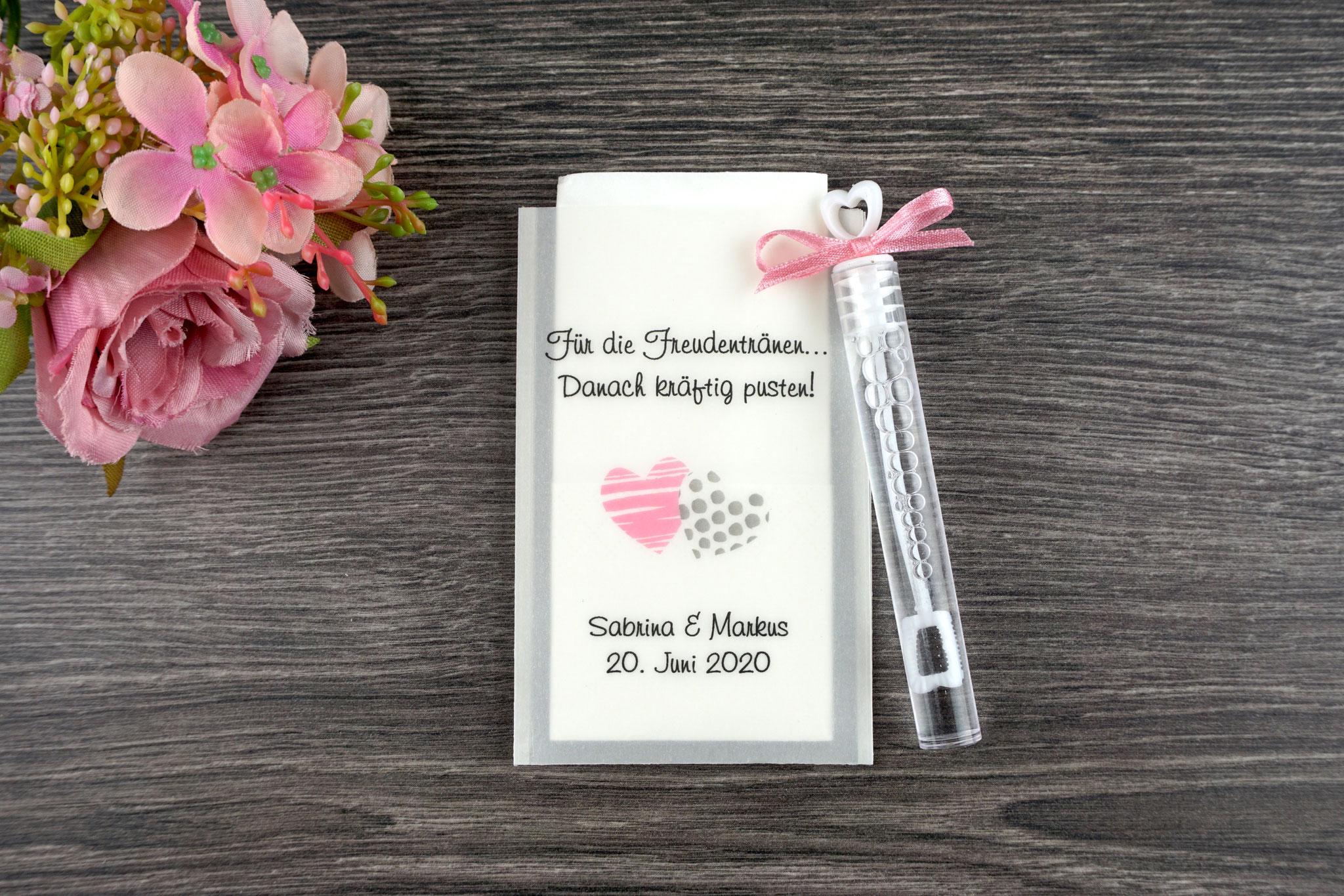Freudentränen Taschentücher mit Seifenblasen, Design Zwei Herzen, Farbe Grau/Rosa - Sonderwunsch Farben
