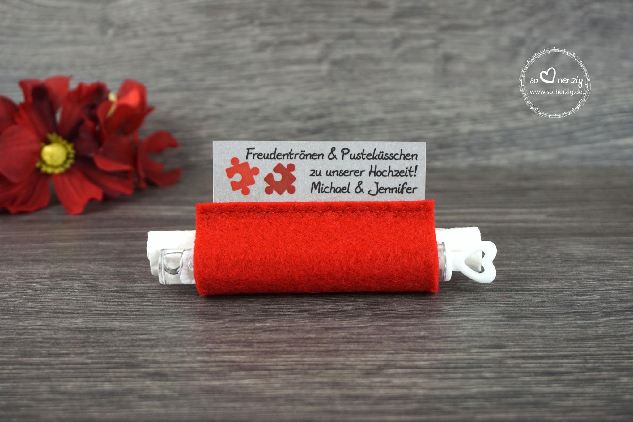 Freudentränen Taschentücher mit Weddingbubbles, Filz rot, Design Puzzle