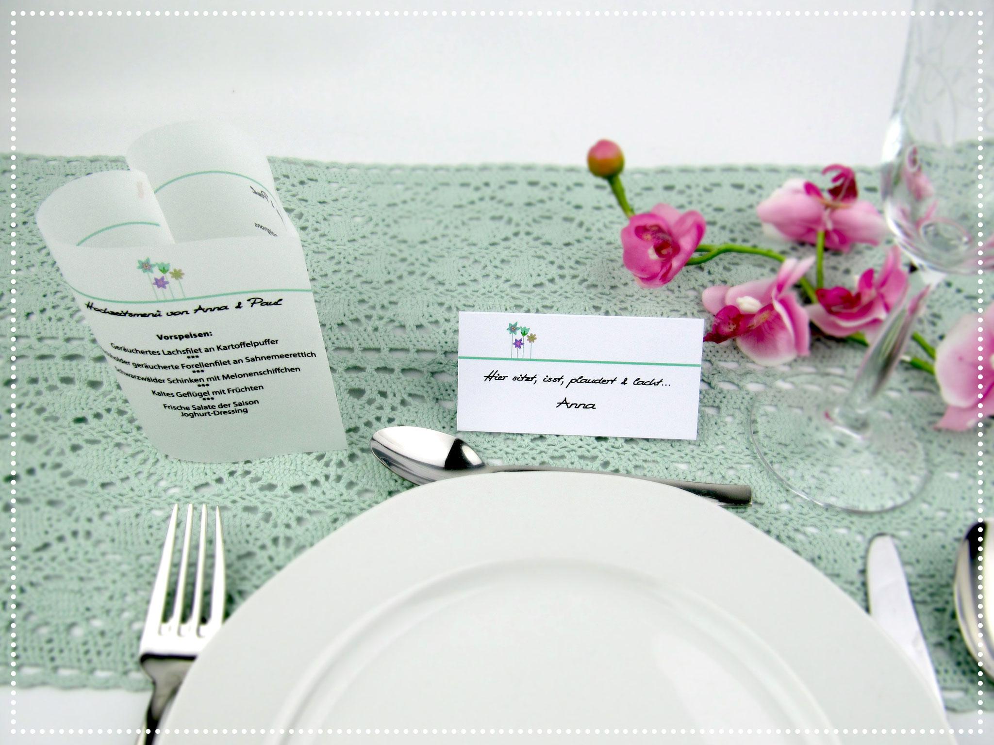 Menükarte & Tischkarte Blumenwiese, Farbe Mint