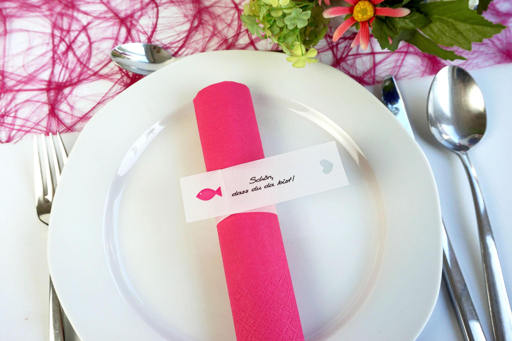 Serviettenring Design Fisch, Farbe Pink, Randabschluss Herz