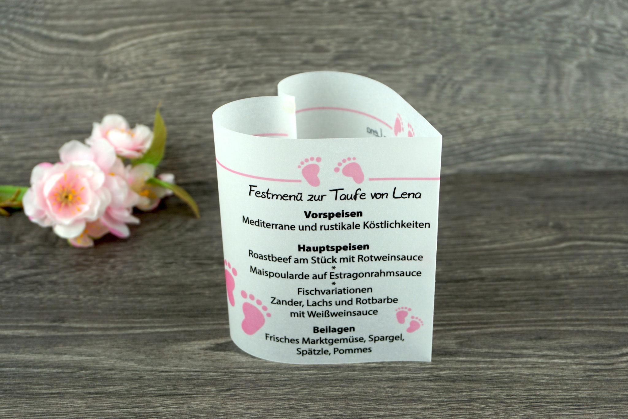 Menükarte Taufe 10,5cm, Design Foot, Farbe Rosa