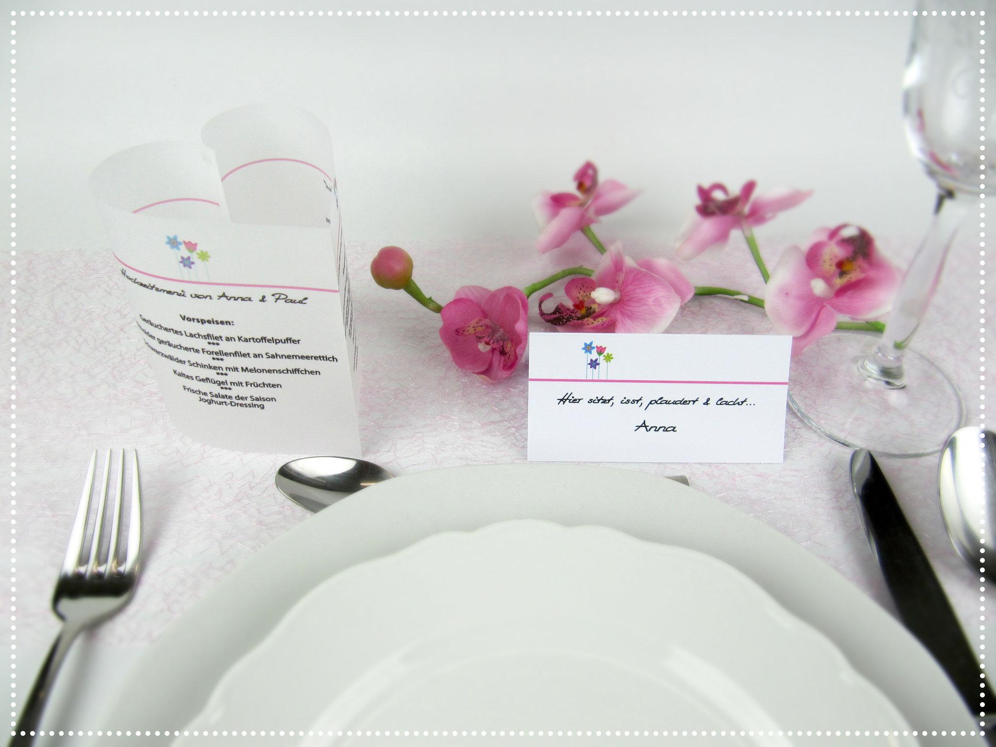 Menükarte Blumenwiese Rosa