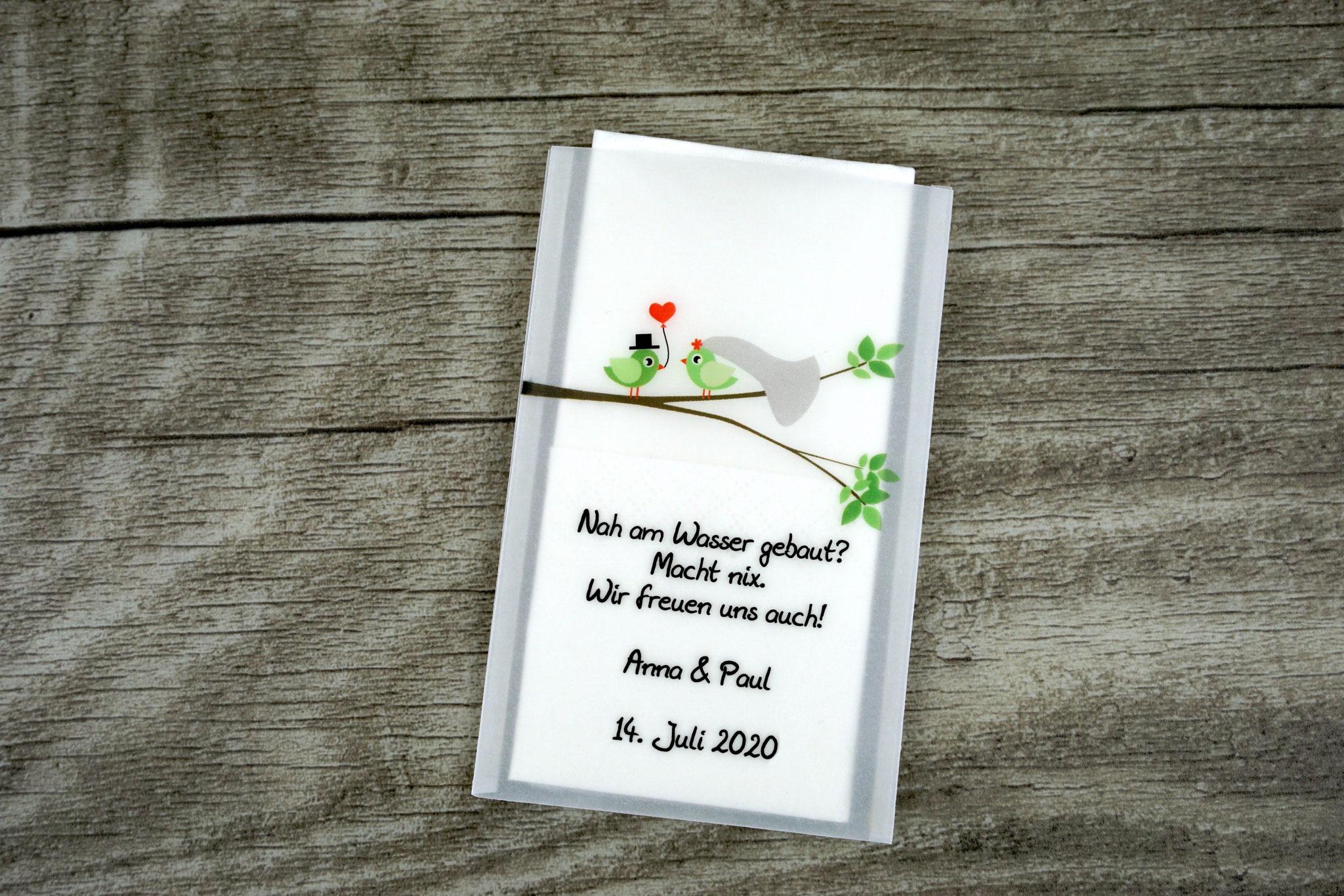 Freudentränen Taschentücher Design Hochzeitsvögel verzweigter Ast, Farbe Grün