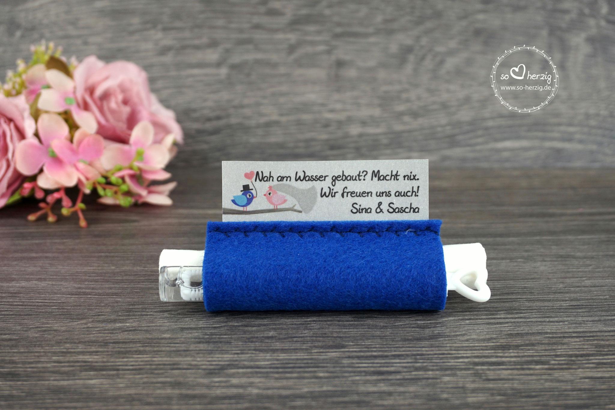 Freudentränen Taschentücher mit Bubbles, Filz royalblau, Design Hochzeitsvögel royalblau/rosa