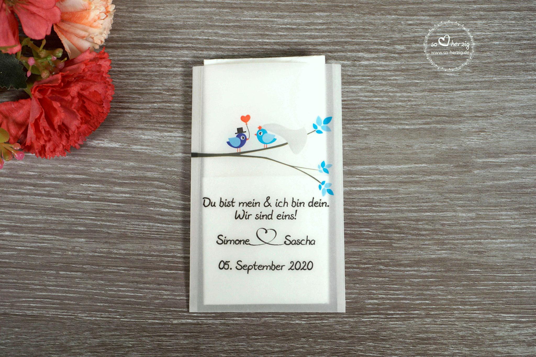 Freudentränen Taschentücher Design Hochzeitsvögel verzweigter Ast, Farbe Royalblau/Blau