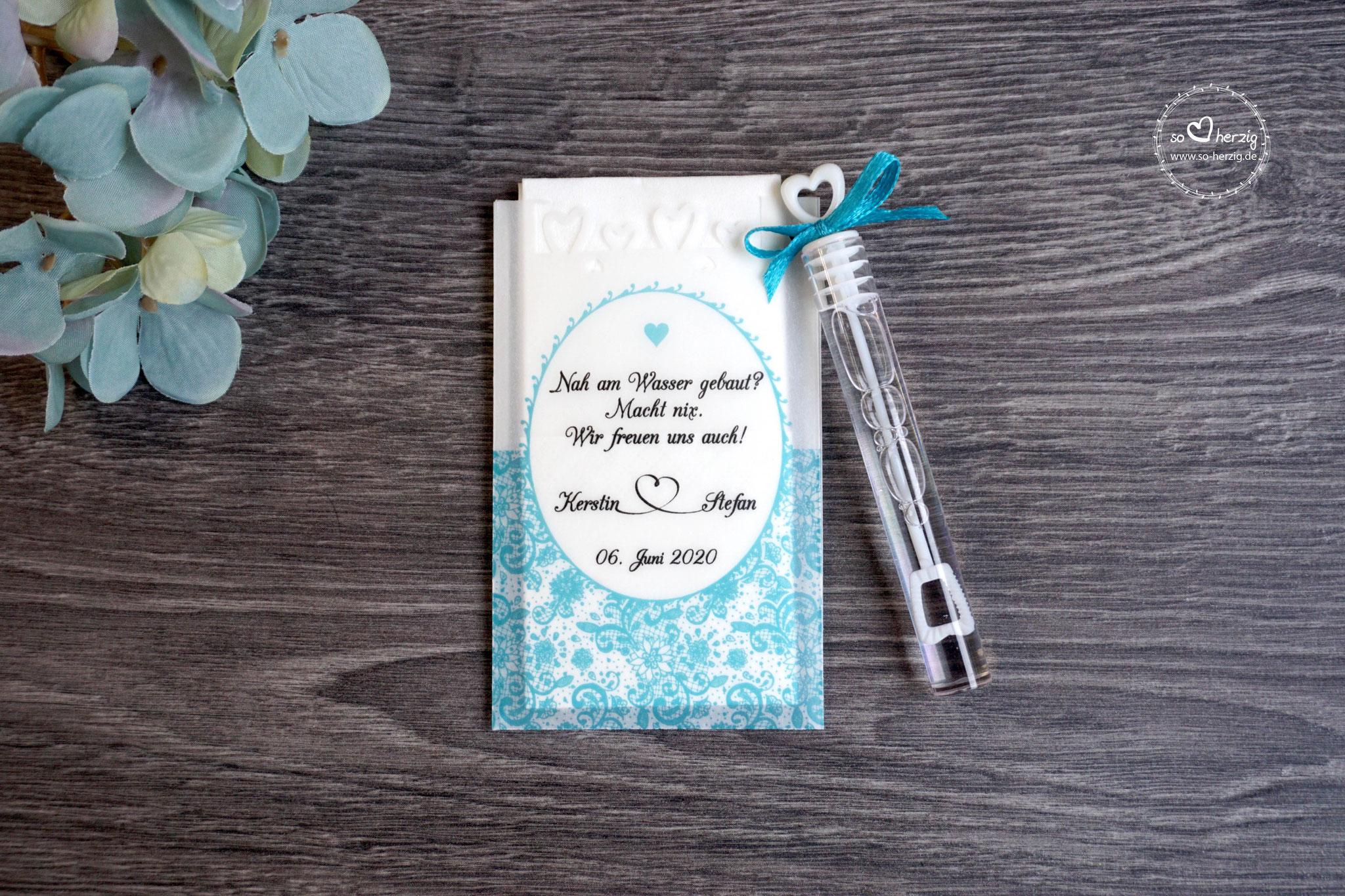 Freudentränen Taschentücher mit Seifenblasen, Design Romantik, Farbe Türkis dunkel, Satinband