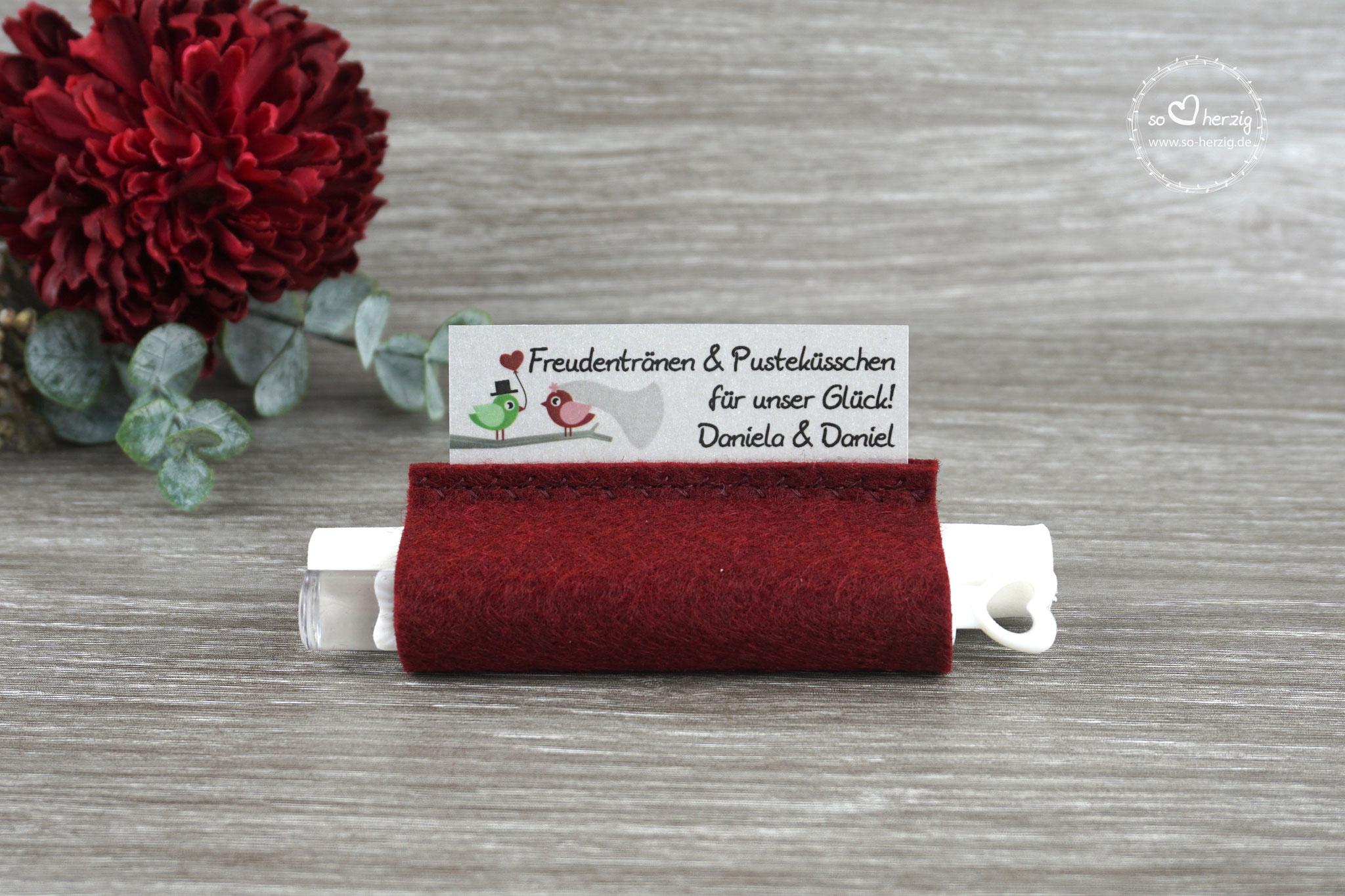 Freudentränen Taschentücher mit Bubbles, Filz Bordeaux, Design Hochzeitsvögel grün/bordeaux