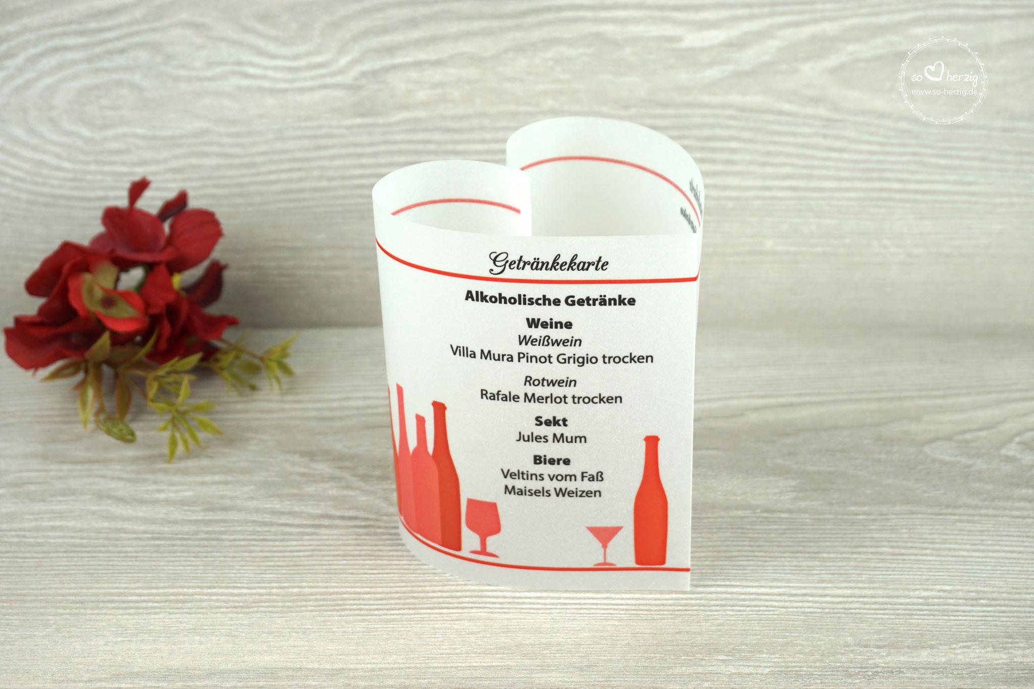 Getränkekarte Herzform 10,5cm, Farbe Rot - Schrift CAC Champagne