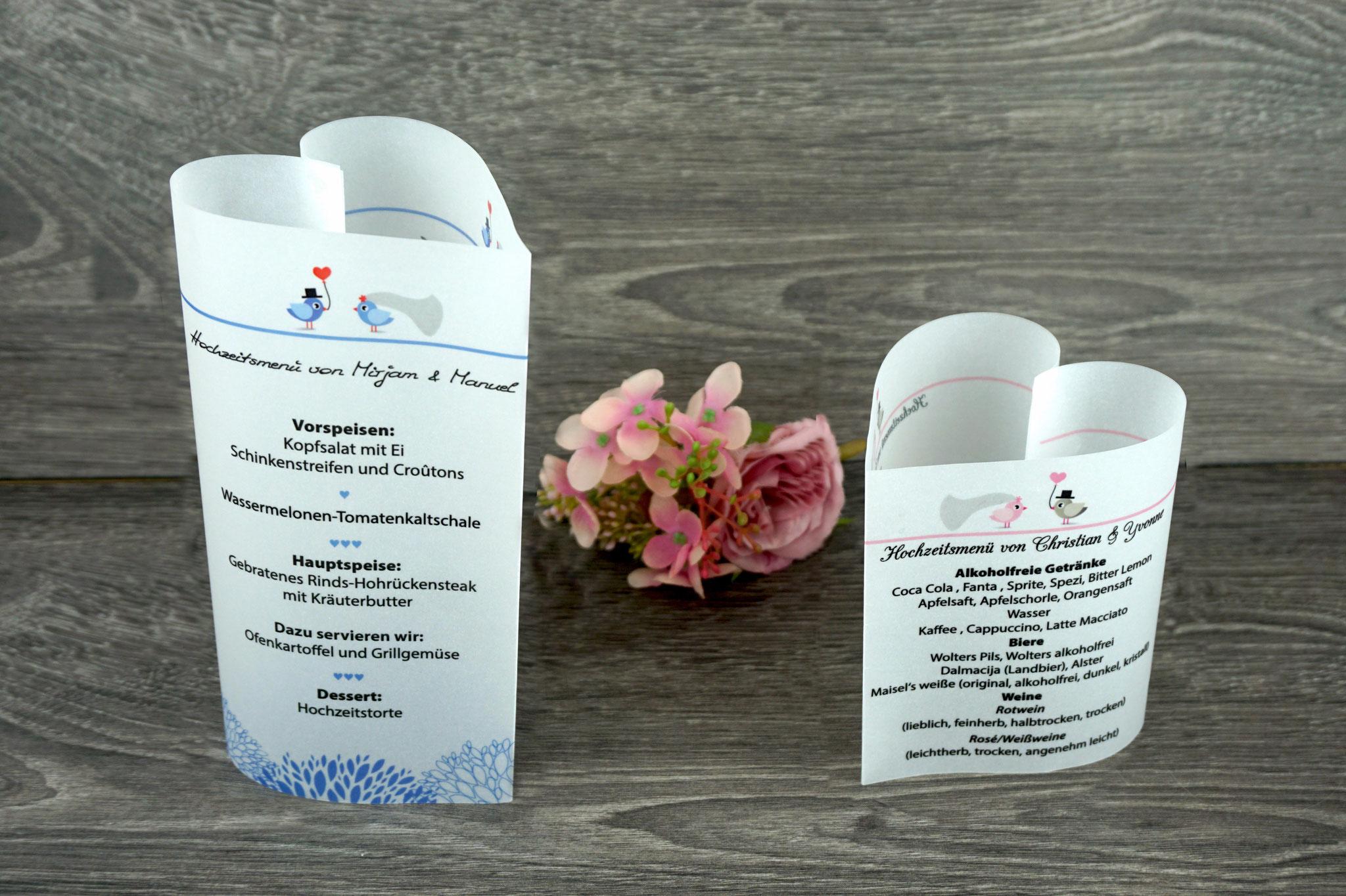 Menükarten Design Hochzeitsvögel