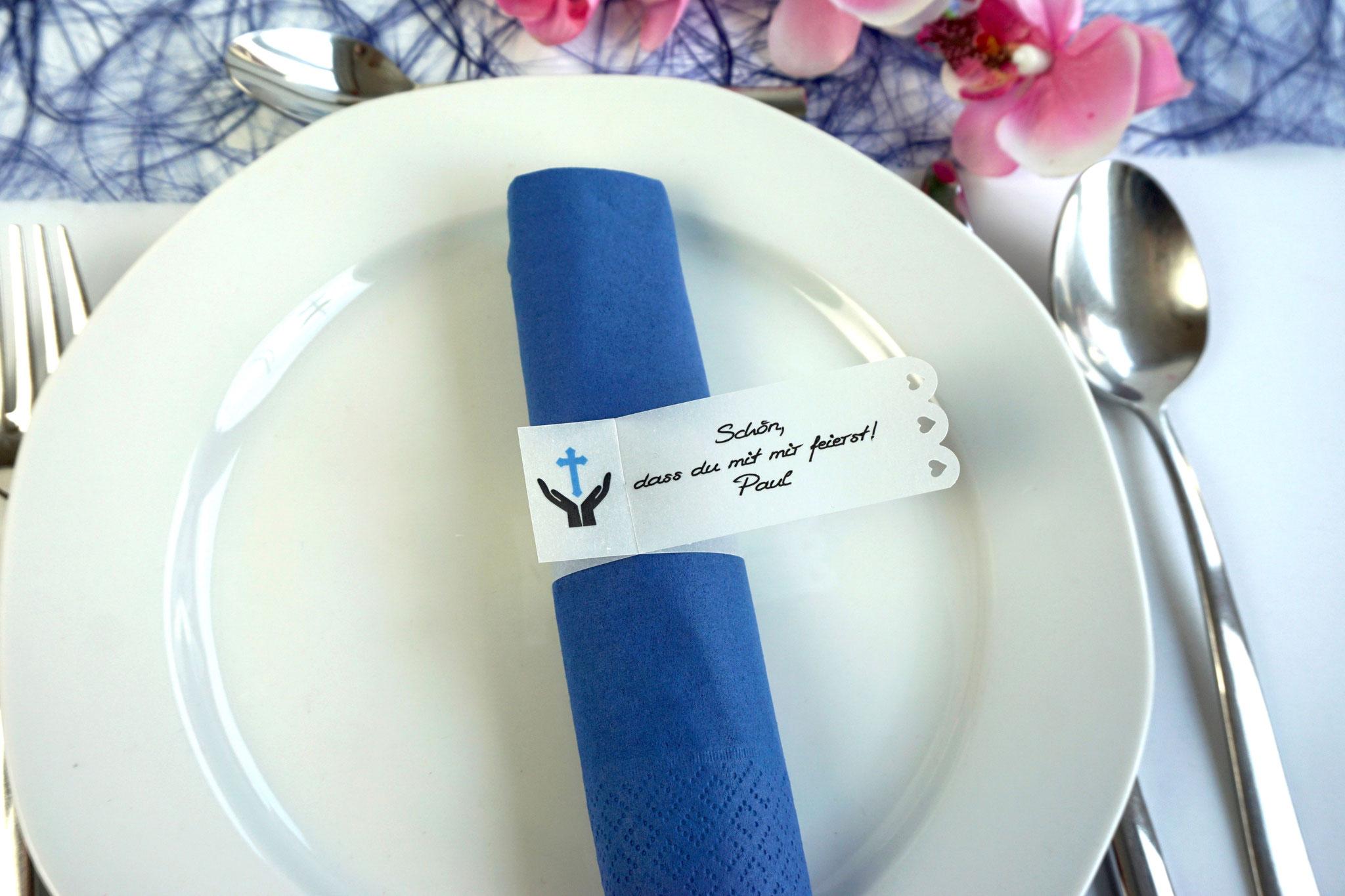 Serviettenring Design Hand/Kreuz, Farbe Blau, Randabschluss Wellenrand
