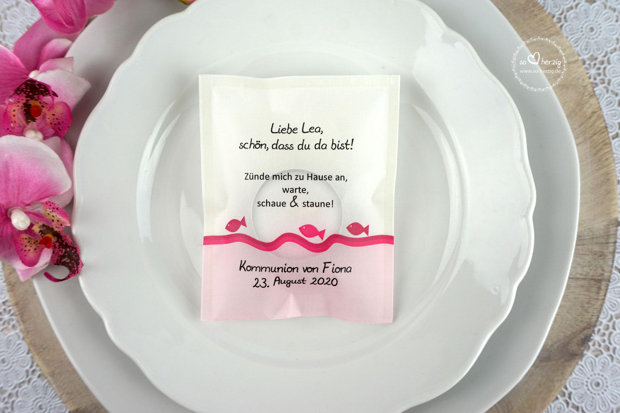 """Teelicht-Botschaft """"Verpackung als Platzkarte"""", Design Fische Pink"""
