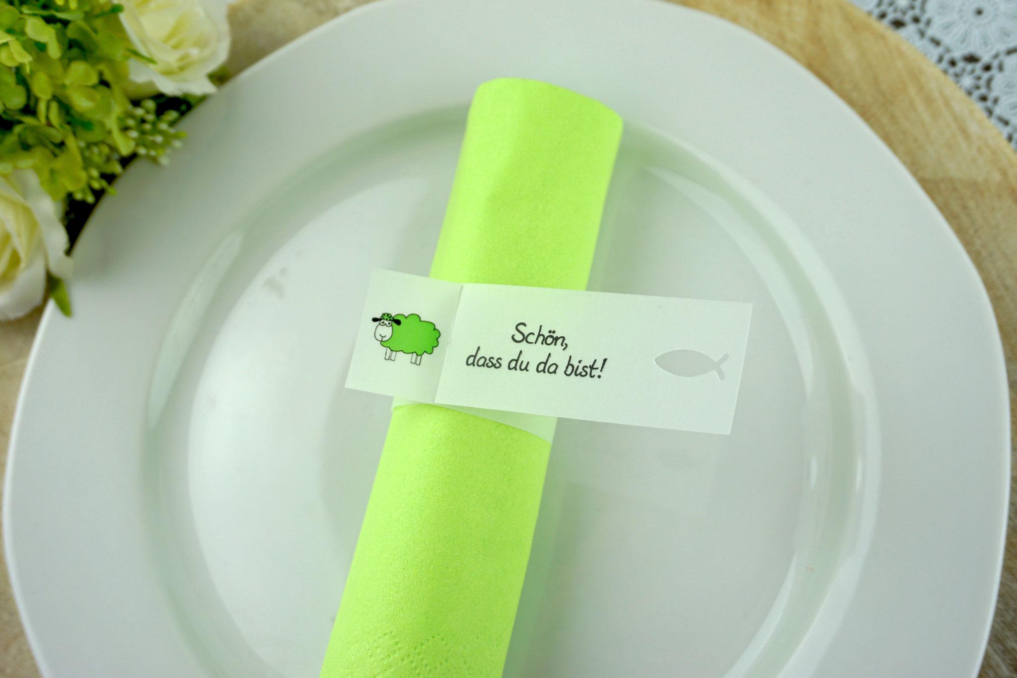 Serviettenring Design Schaf, Farbe Apfelgrün, Randabschluss Fisch