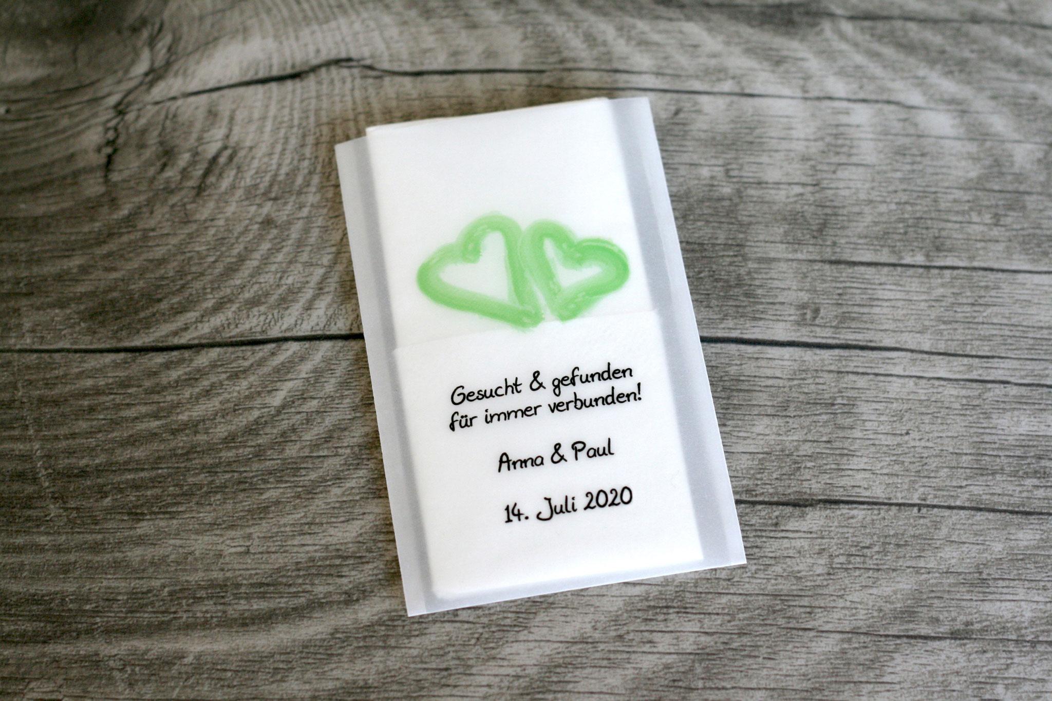 Freudentränen Taschentücher Design Aquarellherzen Farbe Apfelgrün