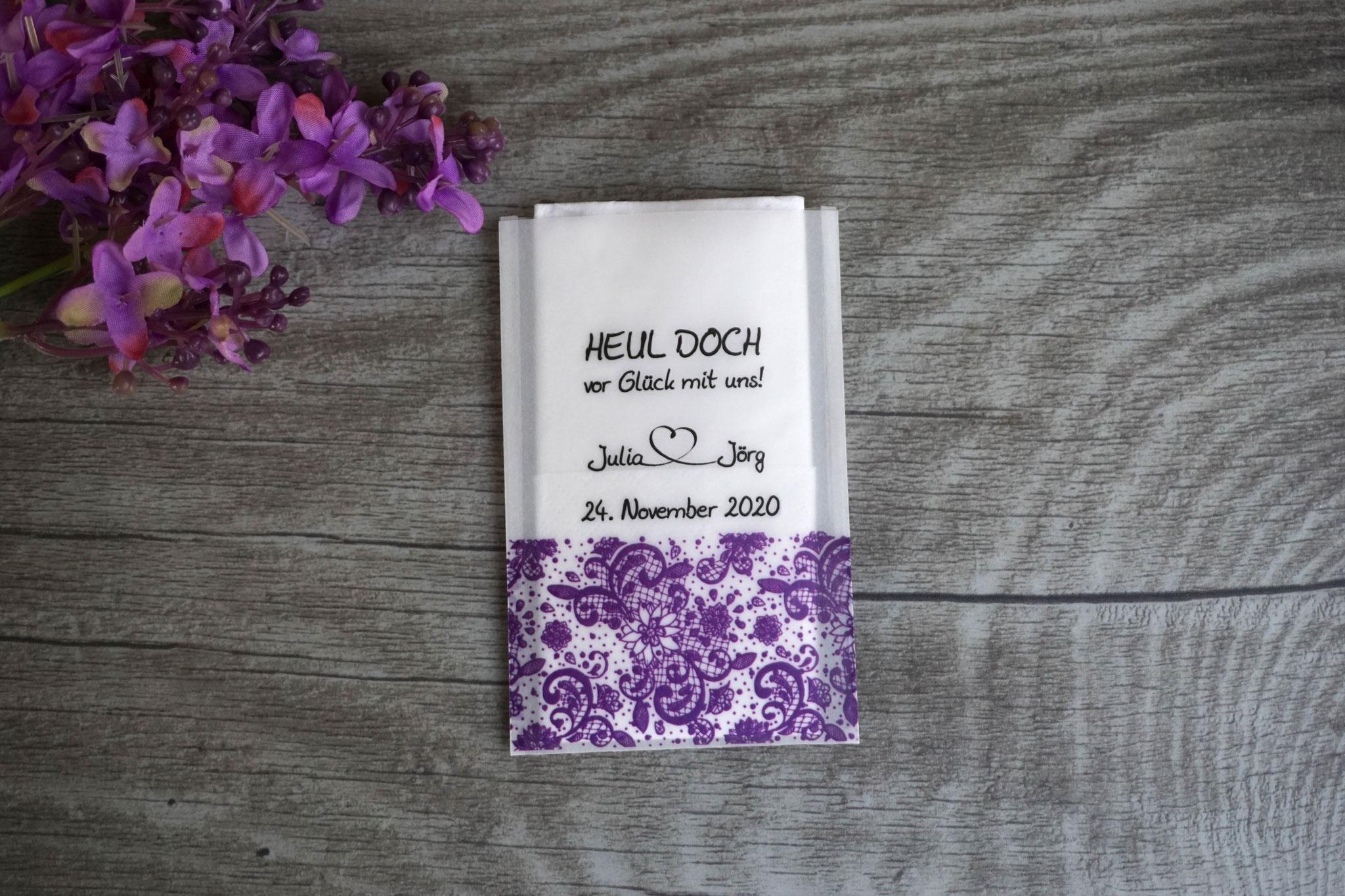 Freudentränen Taschentücher, Design Spitzenband, Farbe Lila