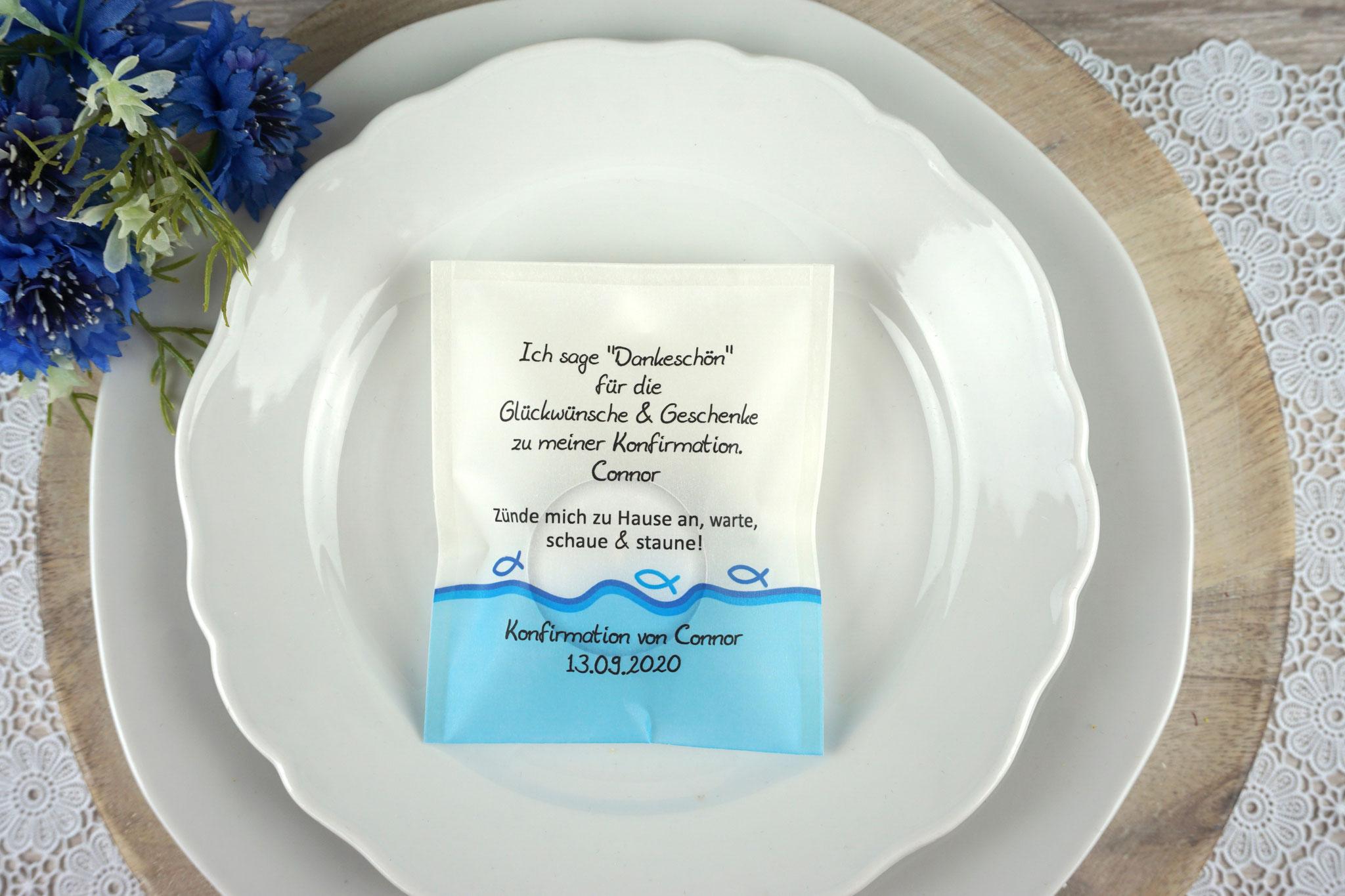 """Licht-Botschaft Design """"Fisch Silhouette"""" Blau"""