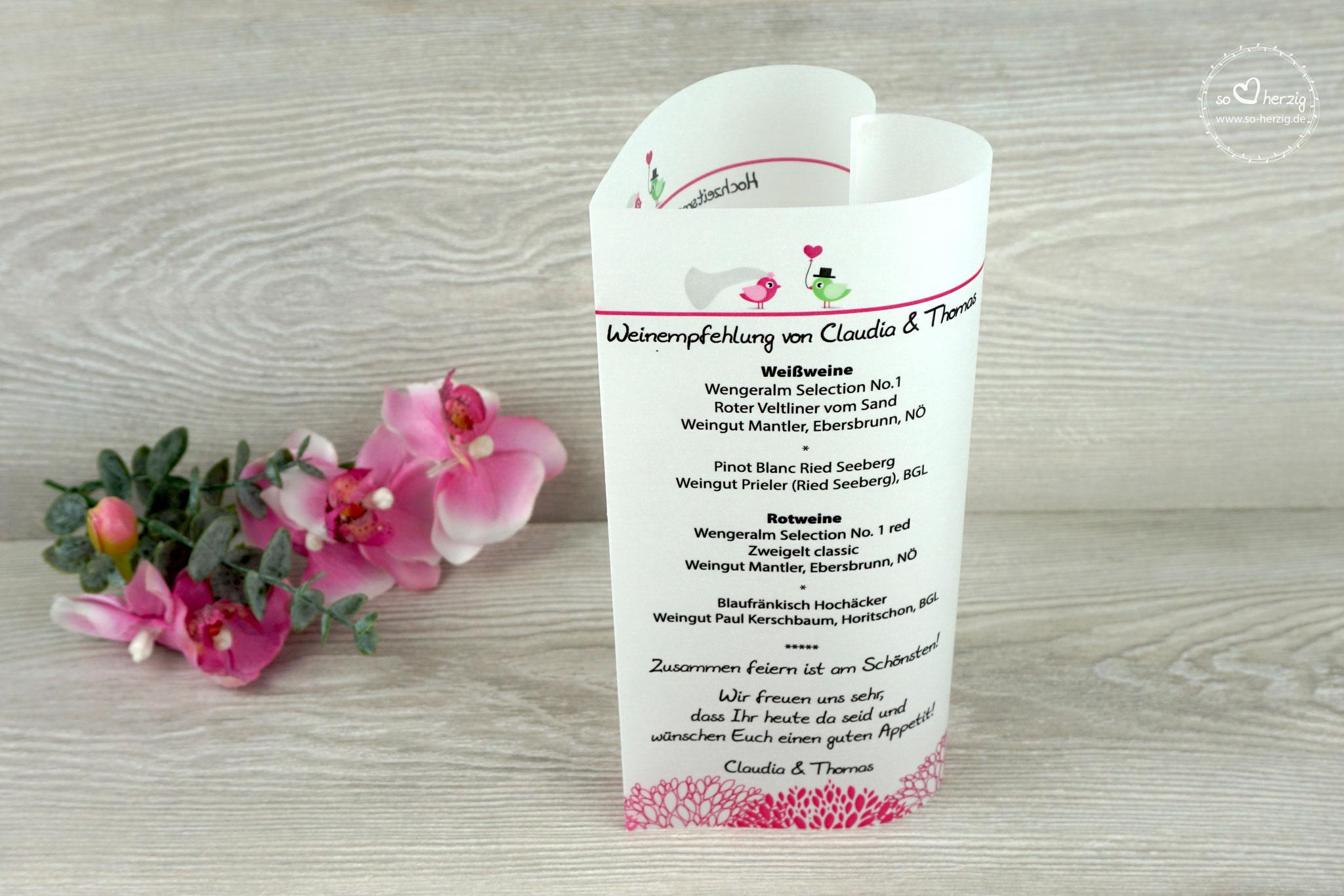 Menü,- und Getränkekarte 17cm, Design Hochzeitsvögel, Farbe Pink/Grün, Schrift Julius B Thyssen