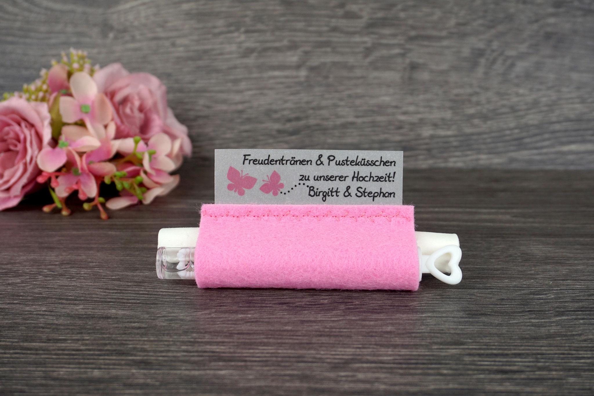 Freudentränen Taschentücher mit Weddingbubbles, Filz rosa, Design Schmetterlinge