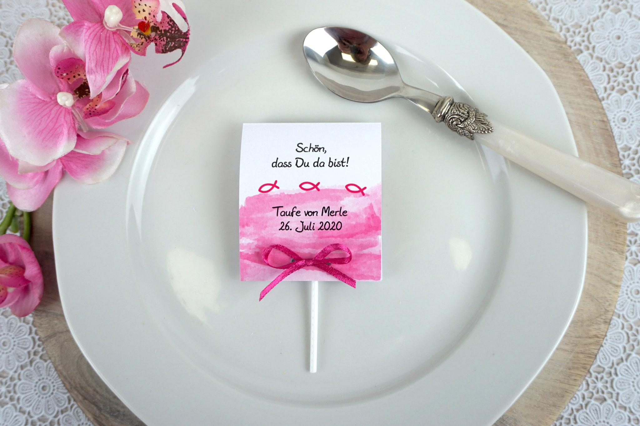 Lutscher Design Aquarellband/Fische Pink - Schrift Julius B Thyssen