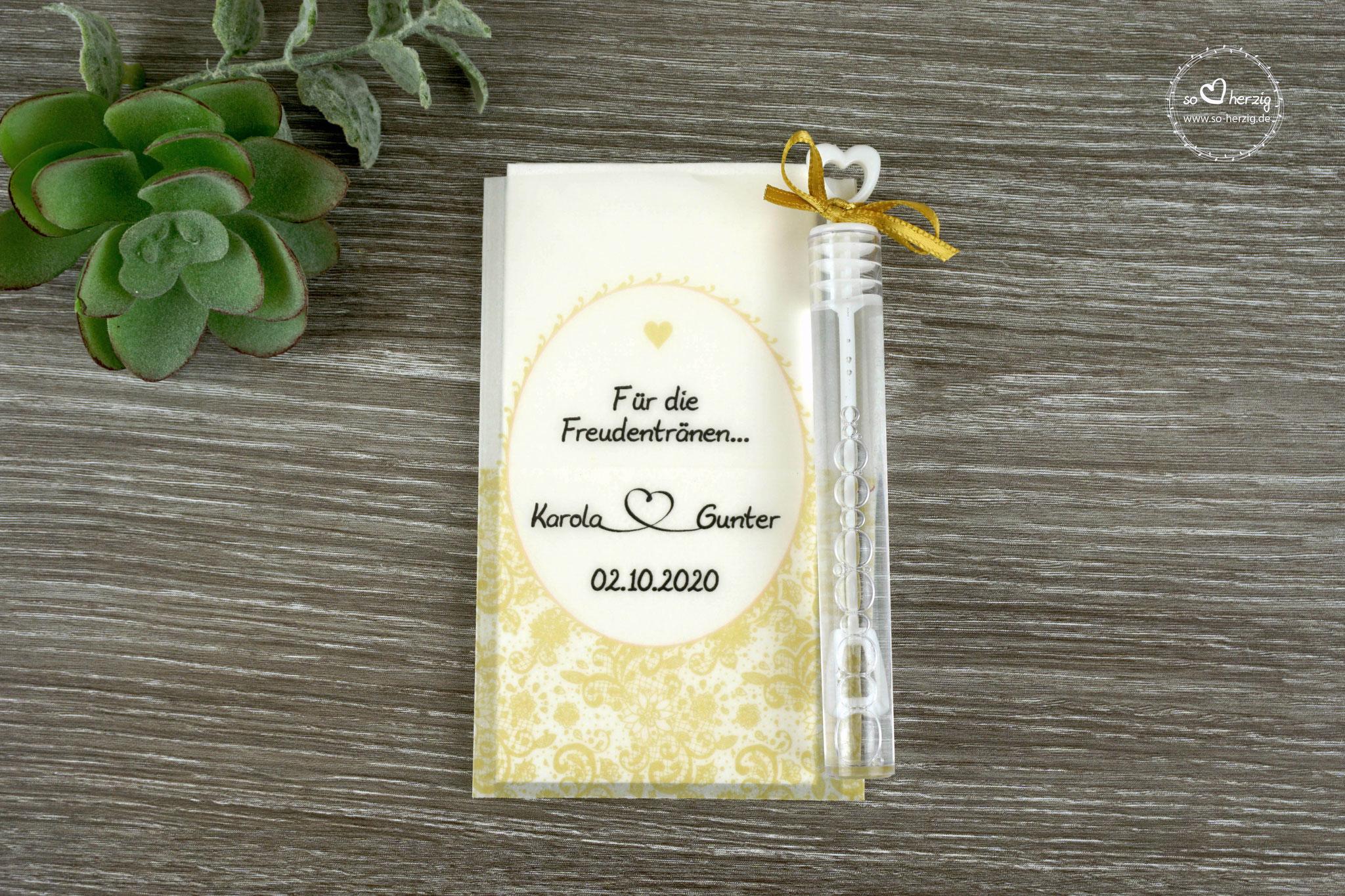 Freudentränen Taschentücher mit Seifenblasen, Design Romantik, Goldfarben, Satinband