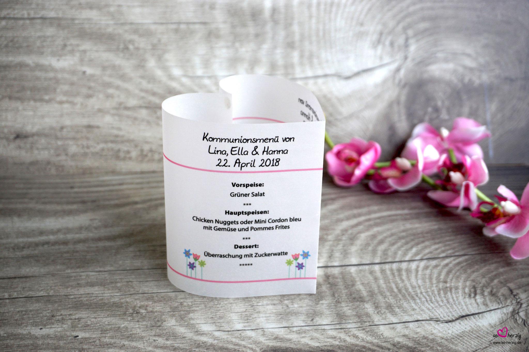 Menükarte Herzform 10,5cm, Design Blumenwiese Sonderwunsch - einheitliches Konzept mit allen bestellten Artikel