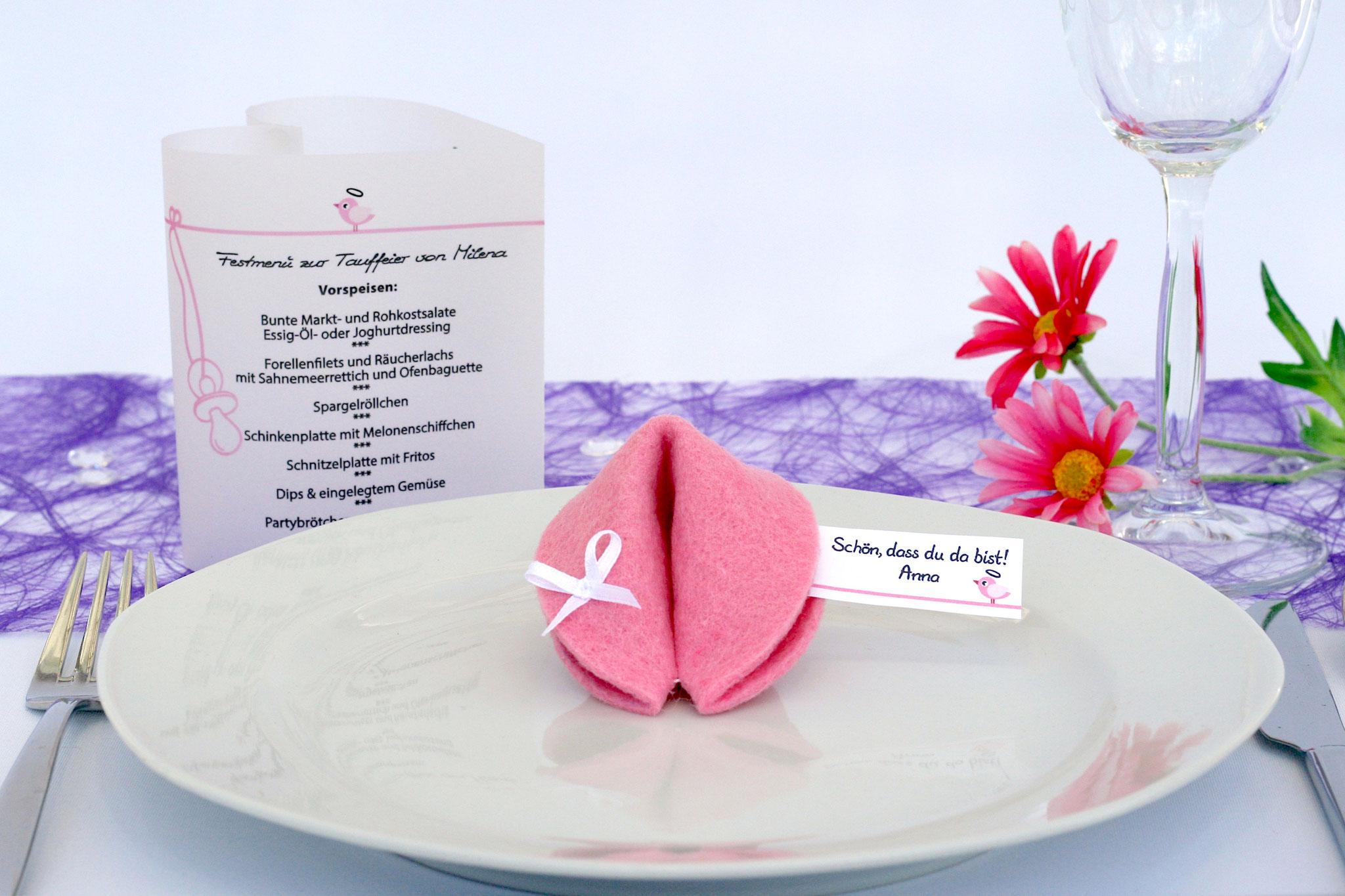 """Filzkeks klein Rosa, Fähnchen Design """"Vögelchen"""""""