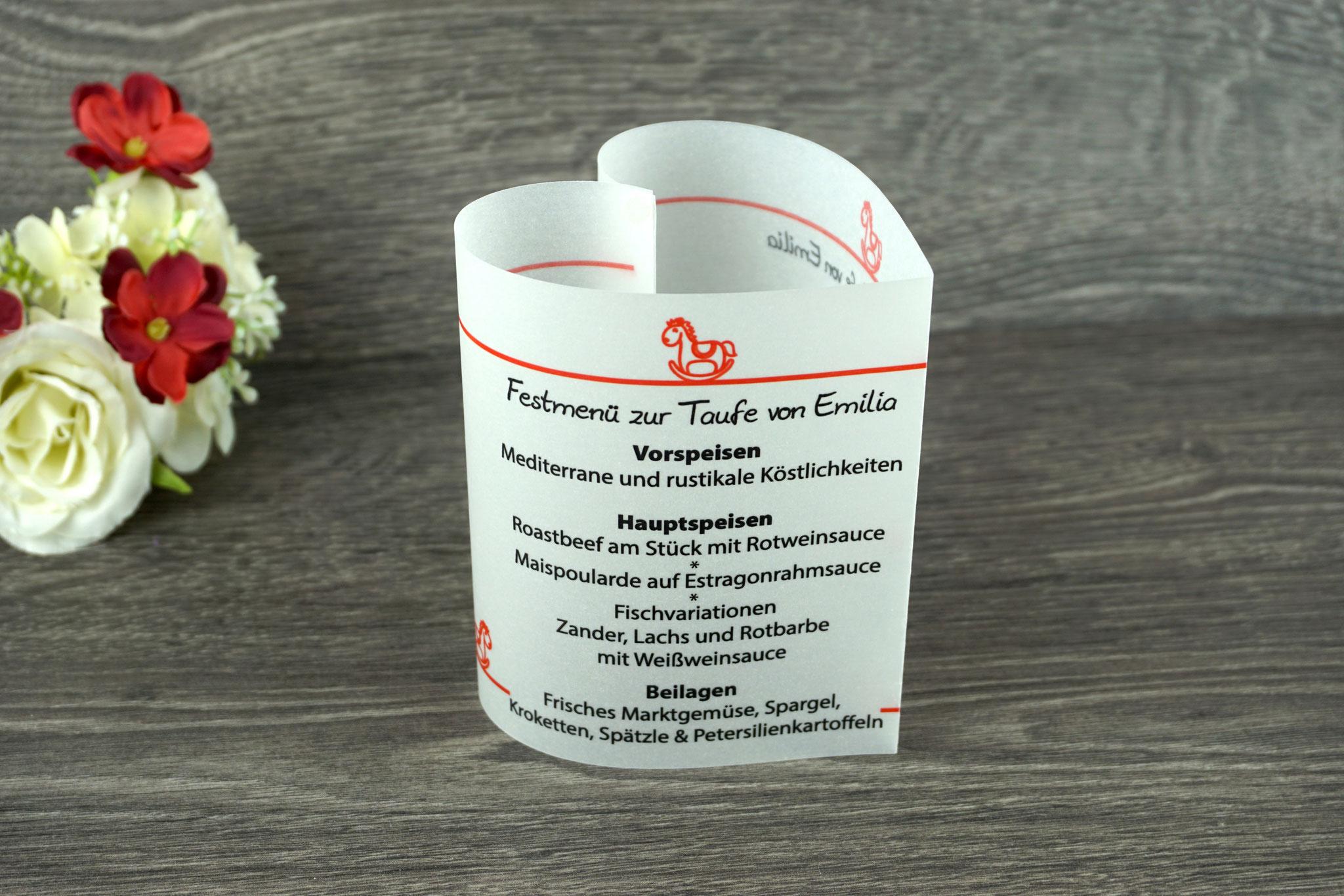 Menükarte Taufe 10,5cm, Design Schaukelpferd, Farbe Rot