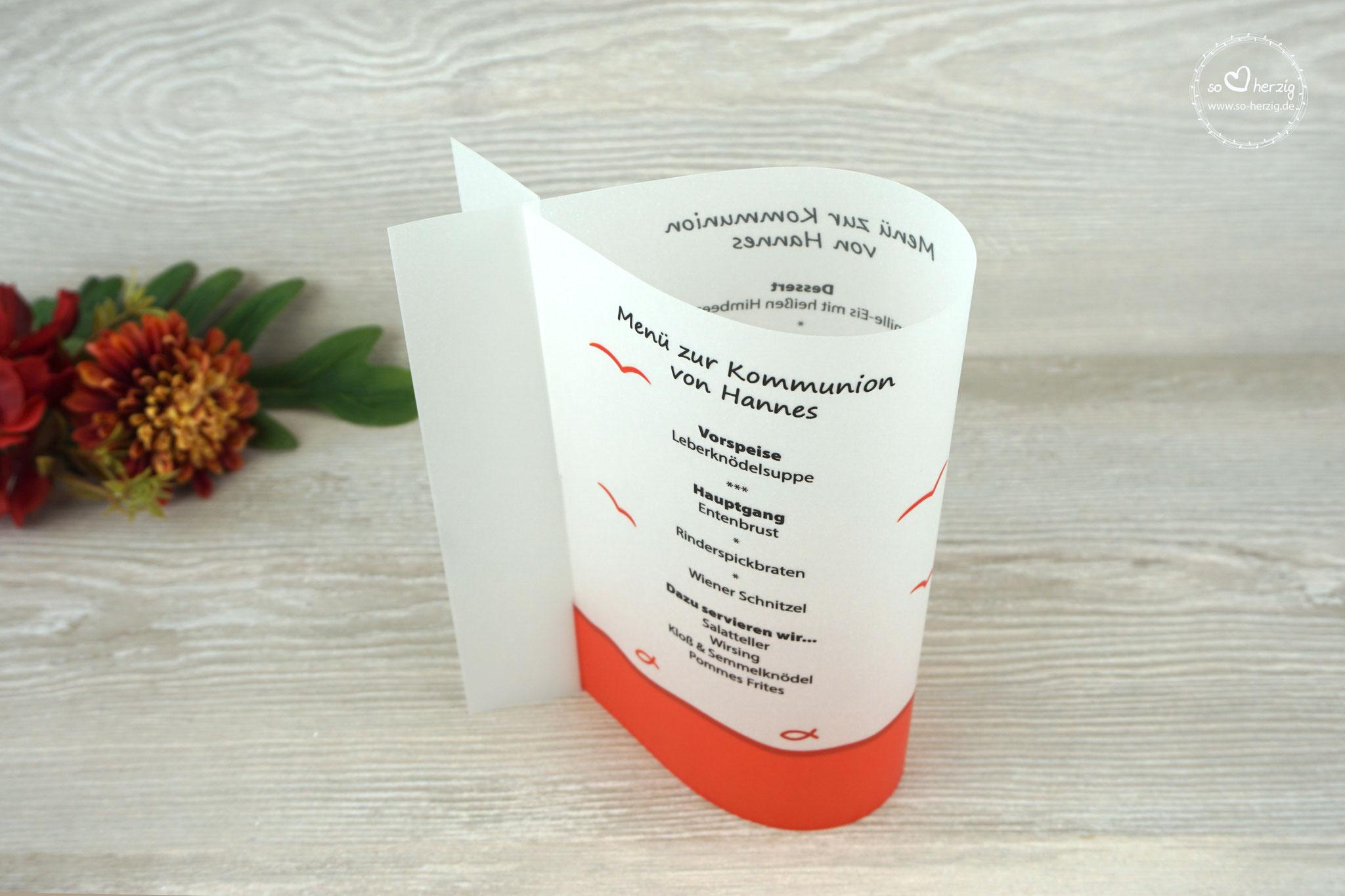 Menükarte Fischform, Design Fisch Silhouette Orange - Sonderwunsch Möven