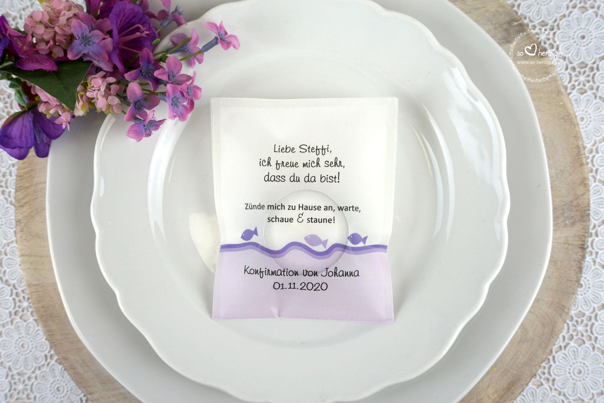 """Teelicht-Botschaft """"Verpackung als Platzkarte"""", Design Fische Flieder - Schrift Ajile"""