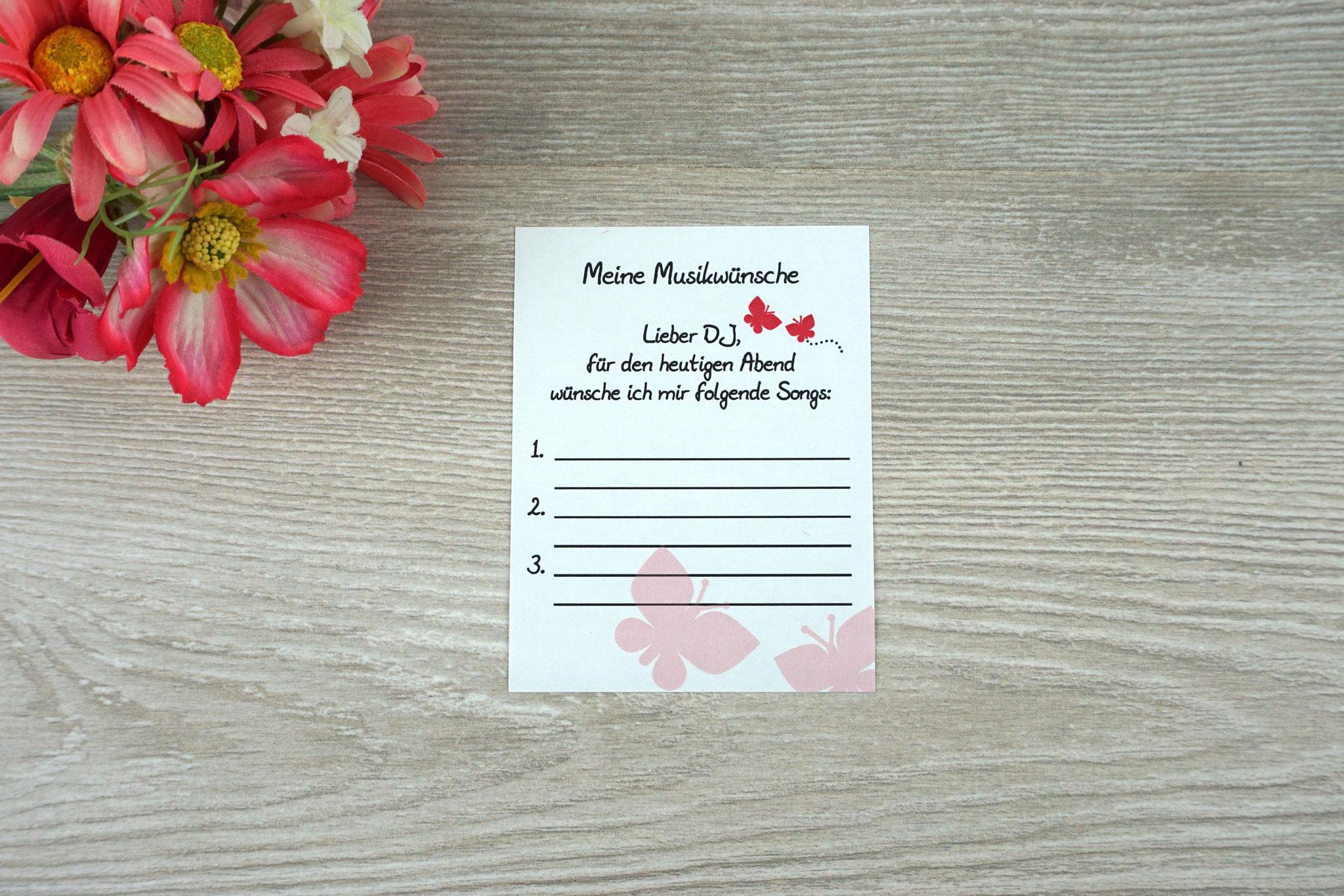 Musikwunschzettel Design Schmetterlinge pink