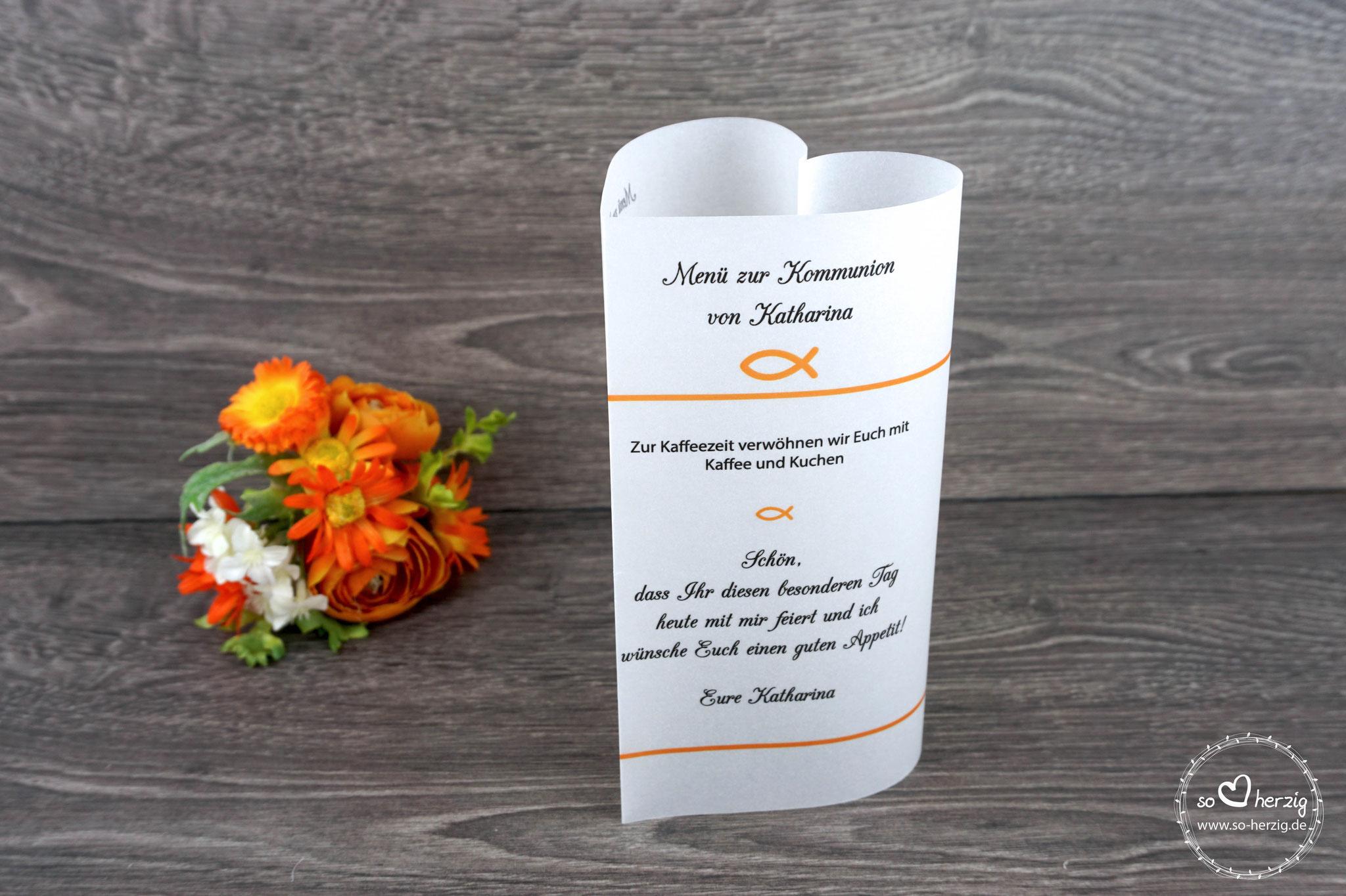 """Menükarte Herzform 17cm, Design """"Fisch Silhouette"""", Farbe Orange- Sonderanfertigung schlichtes Design"""
