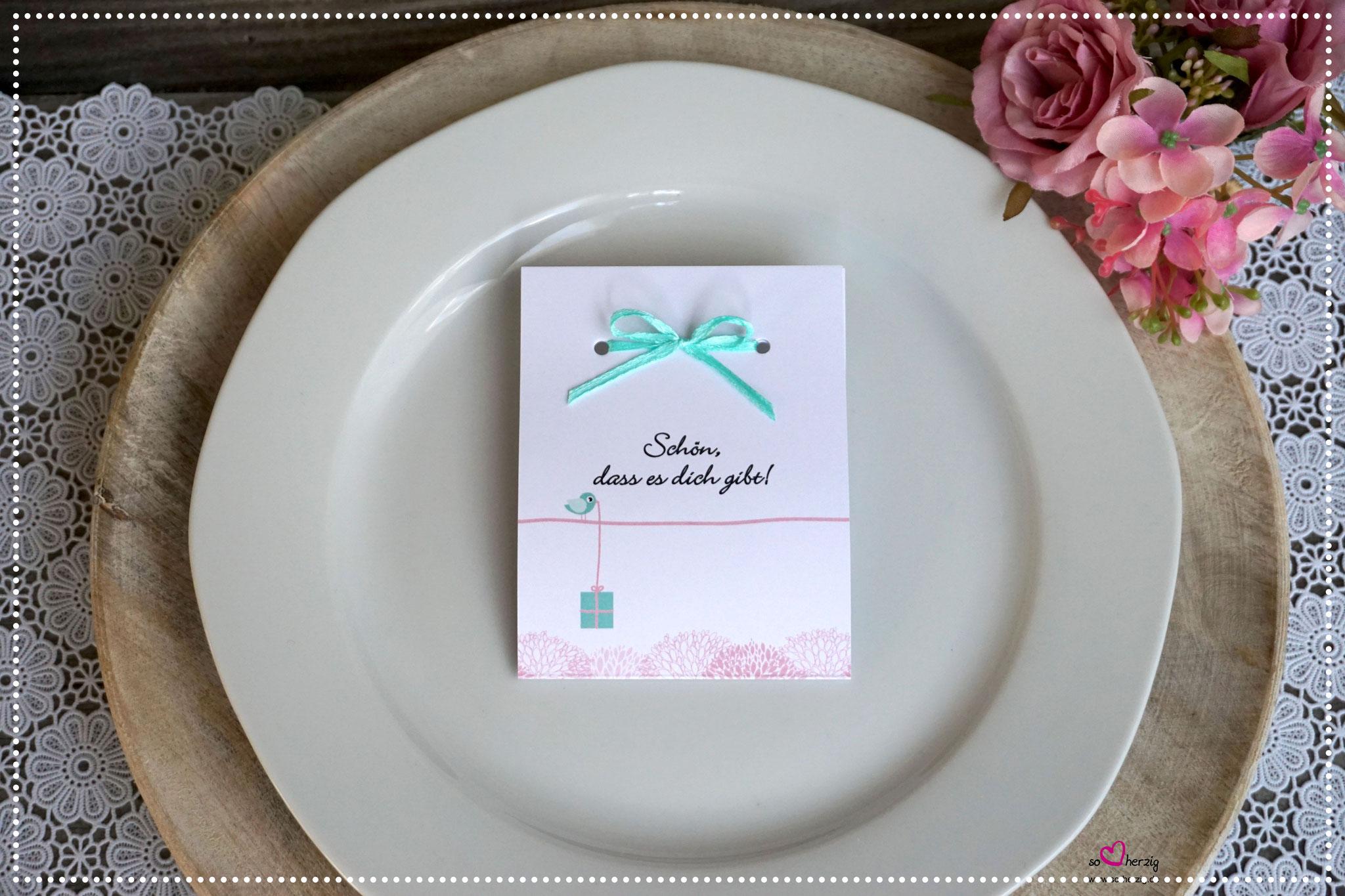 Fruchtgummi Giveaway Design kleines Geschenk rosa/mint